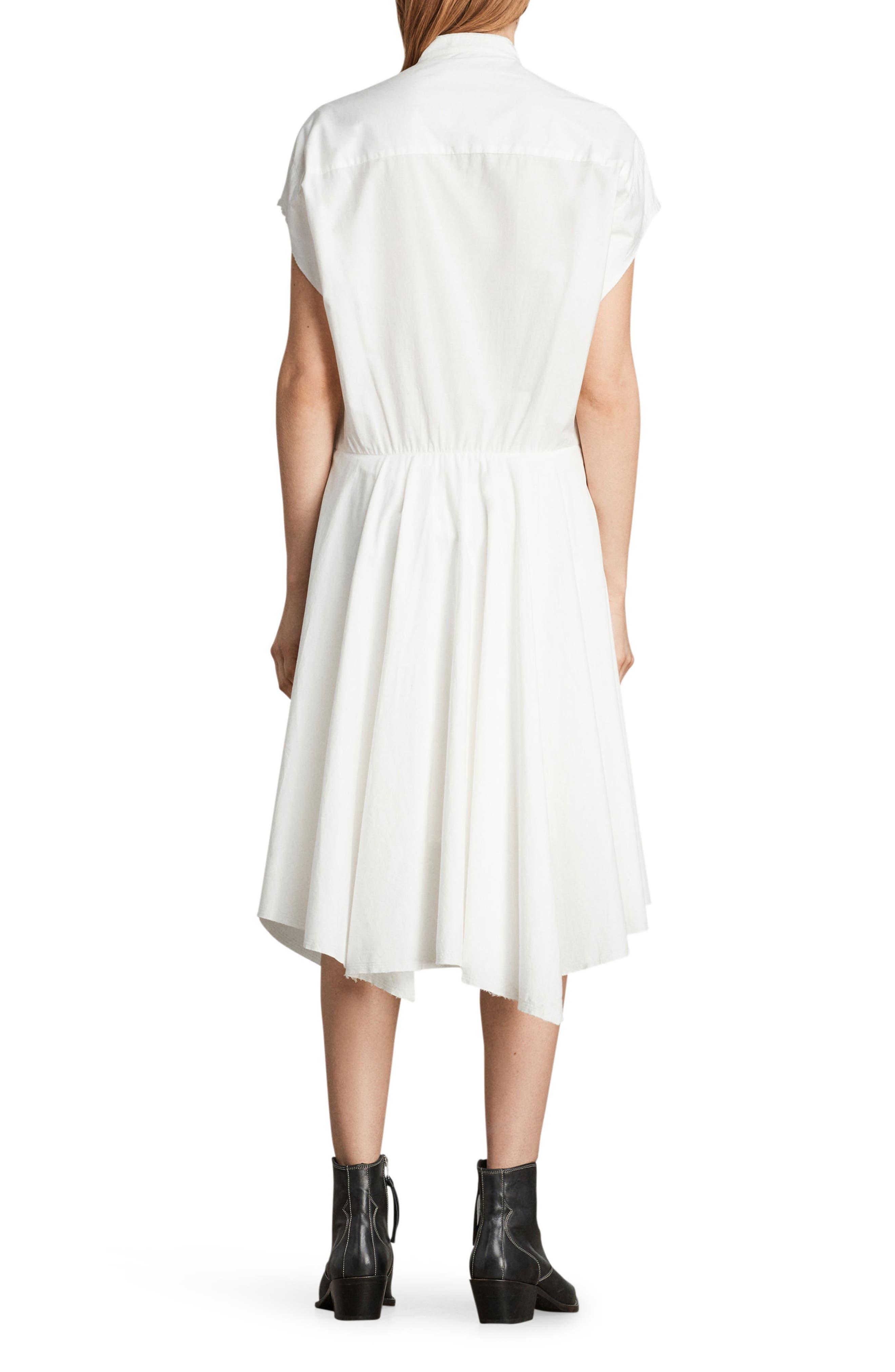 Georgia Tie Waist Shirtdress,                             Alternate thumbnail 2, color,                             Chalk White