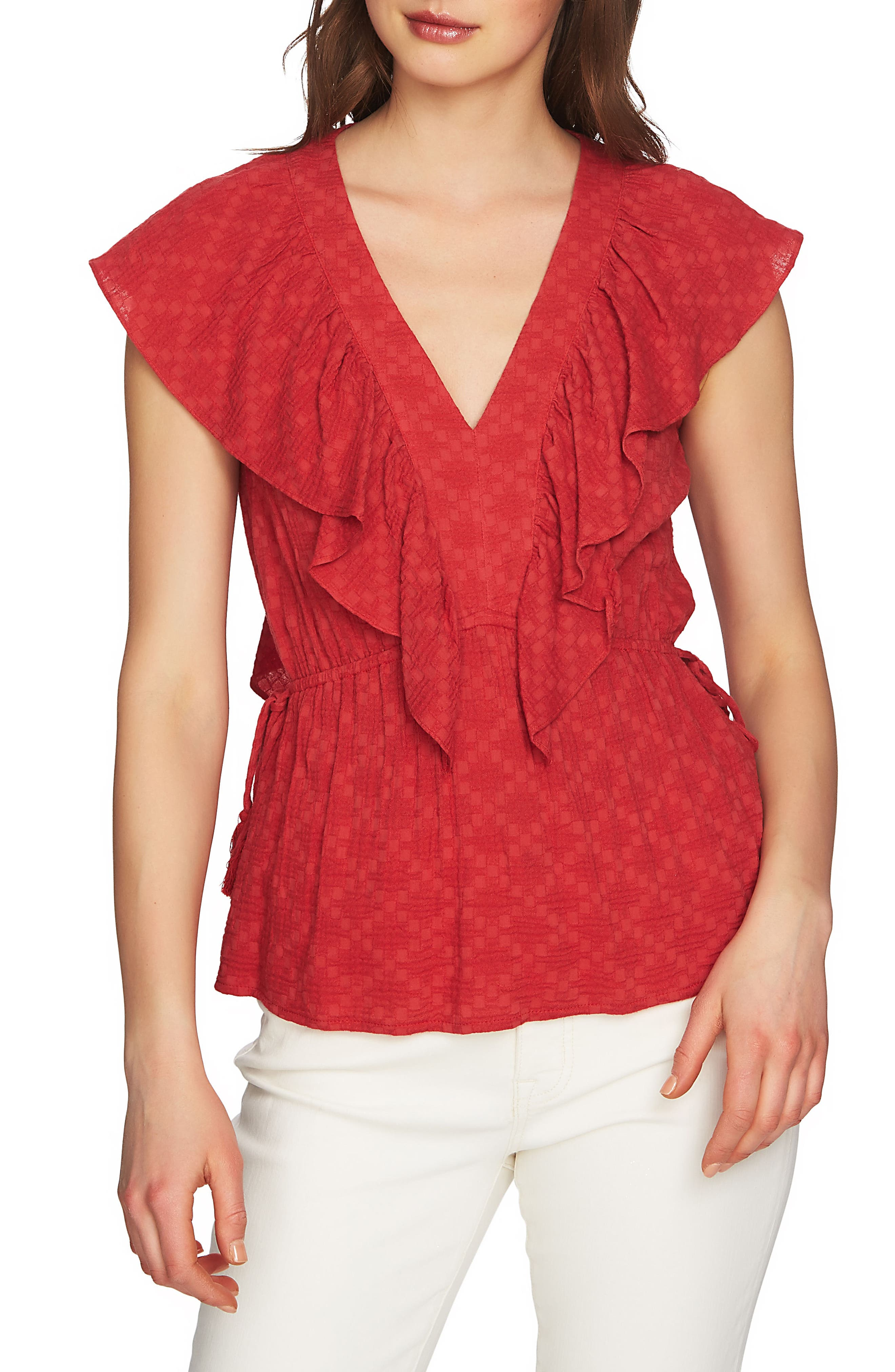 1.STATE V-Neck Ruffle Edge Top