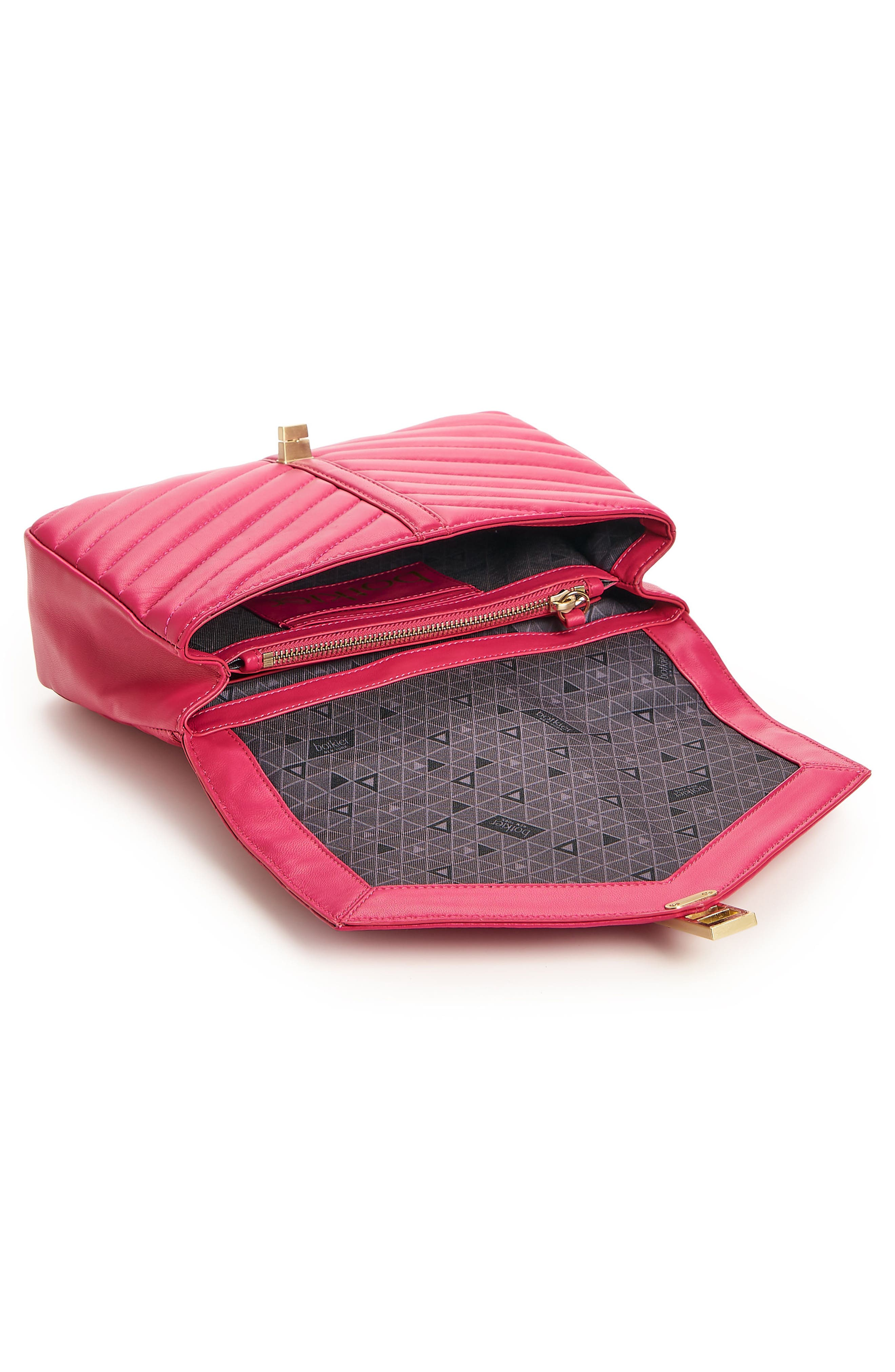 Dakota Quilted Leather Top Handle Bag,                             Alternate thumbnail 3, color,                             Pink