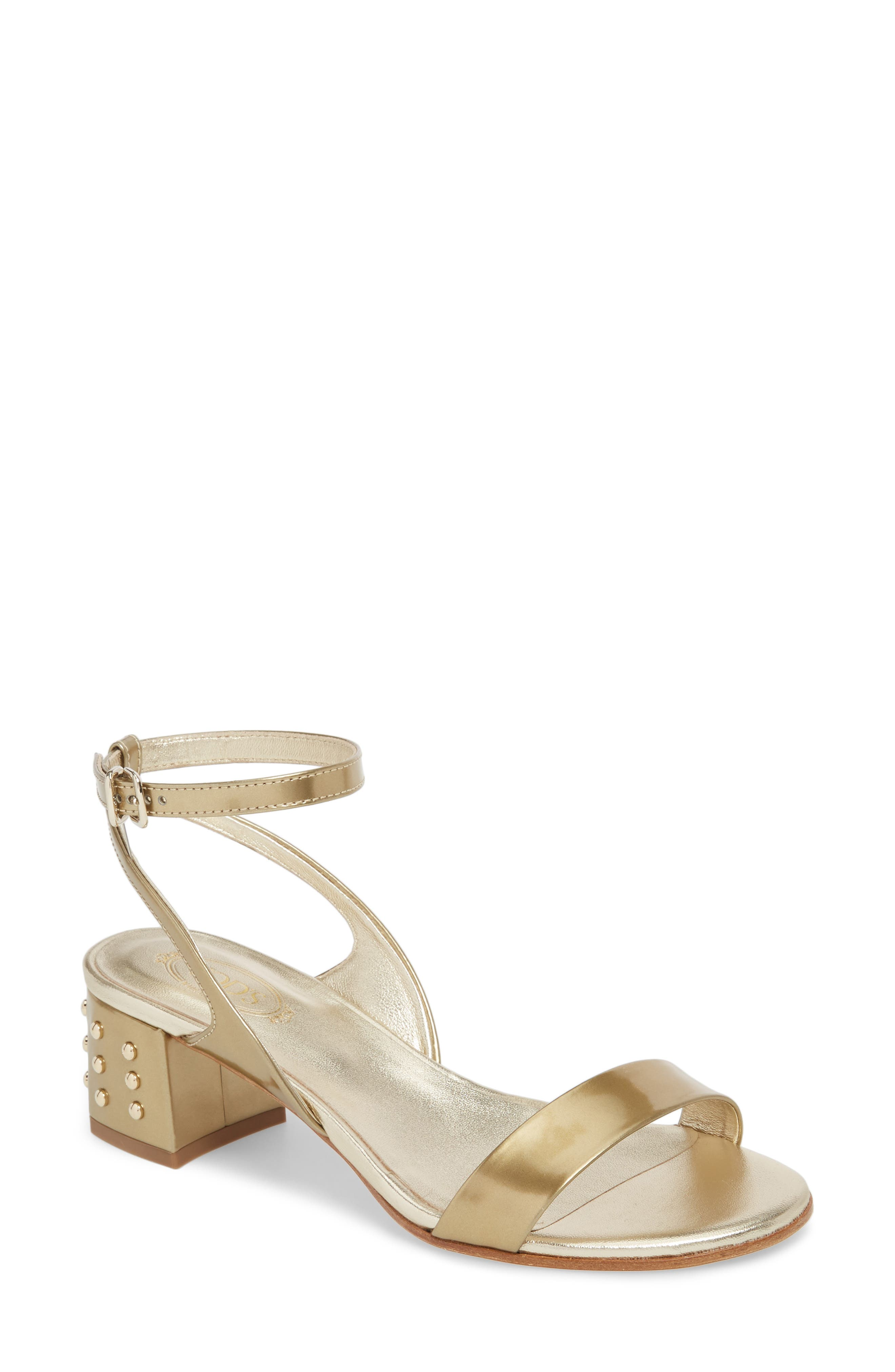 Gommini Block Heel Sandal,                             Main thumbnail 1, color,                             Gold