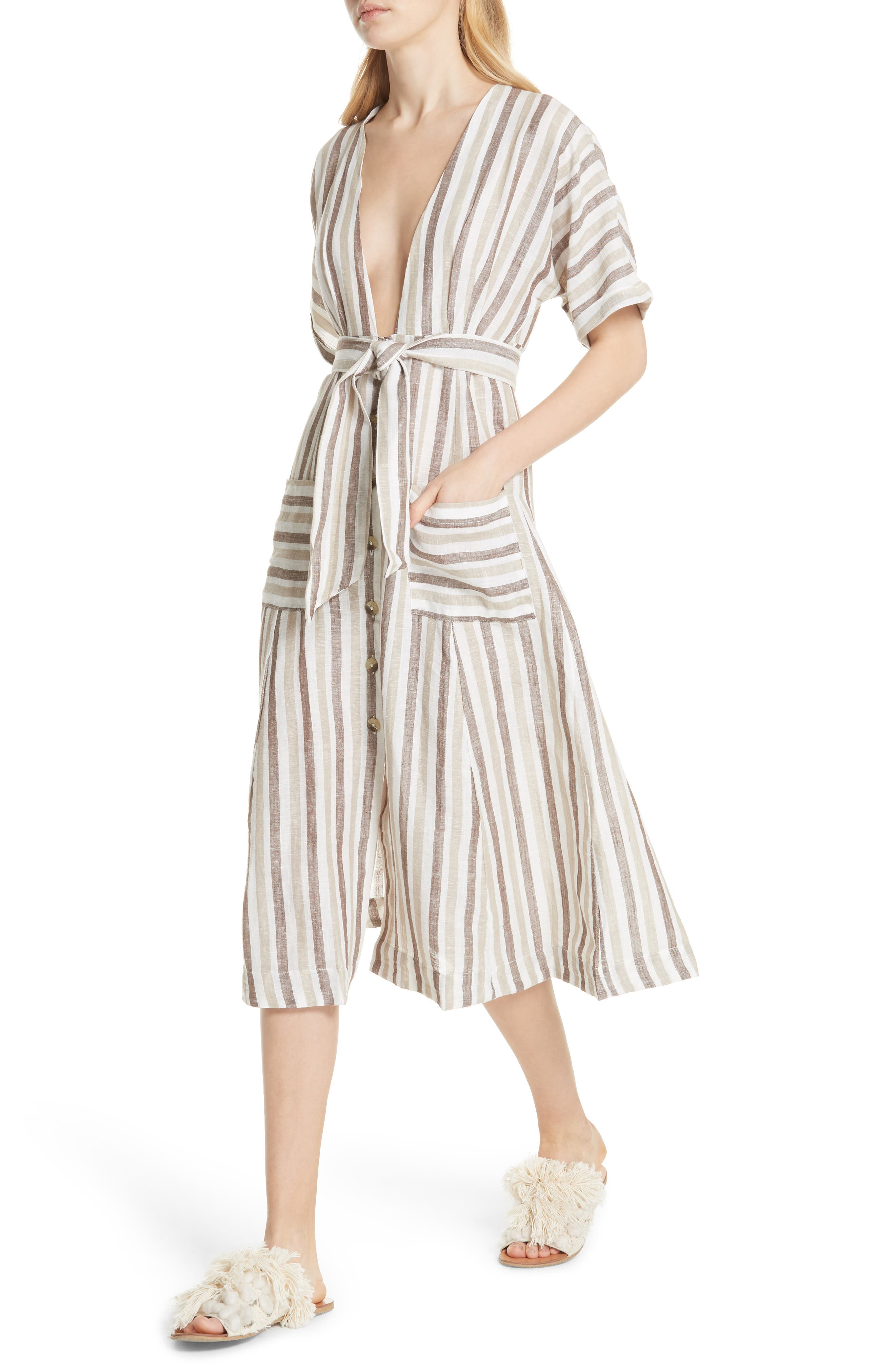 Monday Stripe Linen Blend Midi Dress,                             Alternate thumbnail 4, color,                             Light Grey