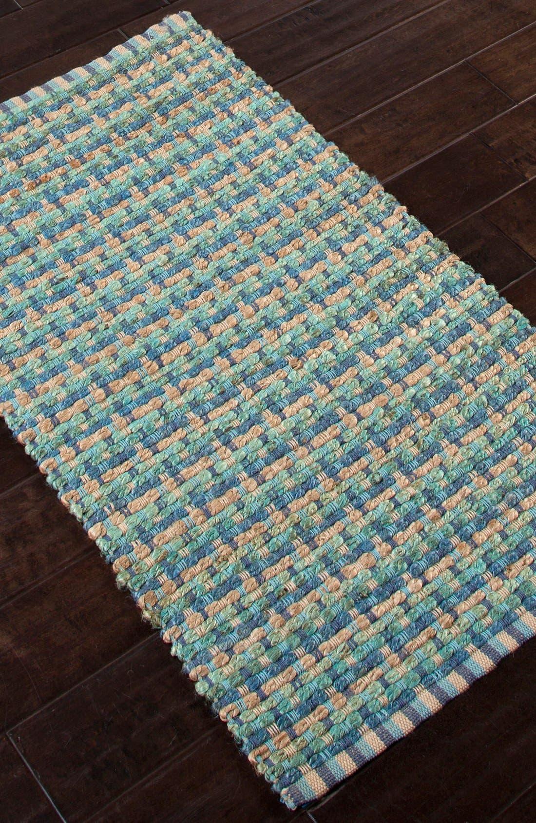 'Manchester' Jute & Cotton Accent Rug,                             Alternate thumbnail 5, color,                             Blue/ Taupe