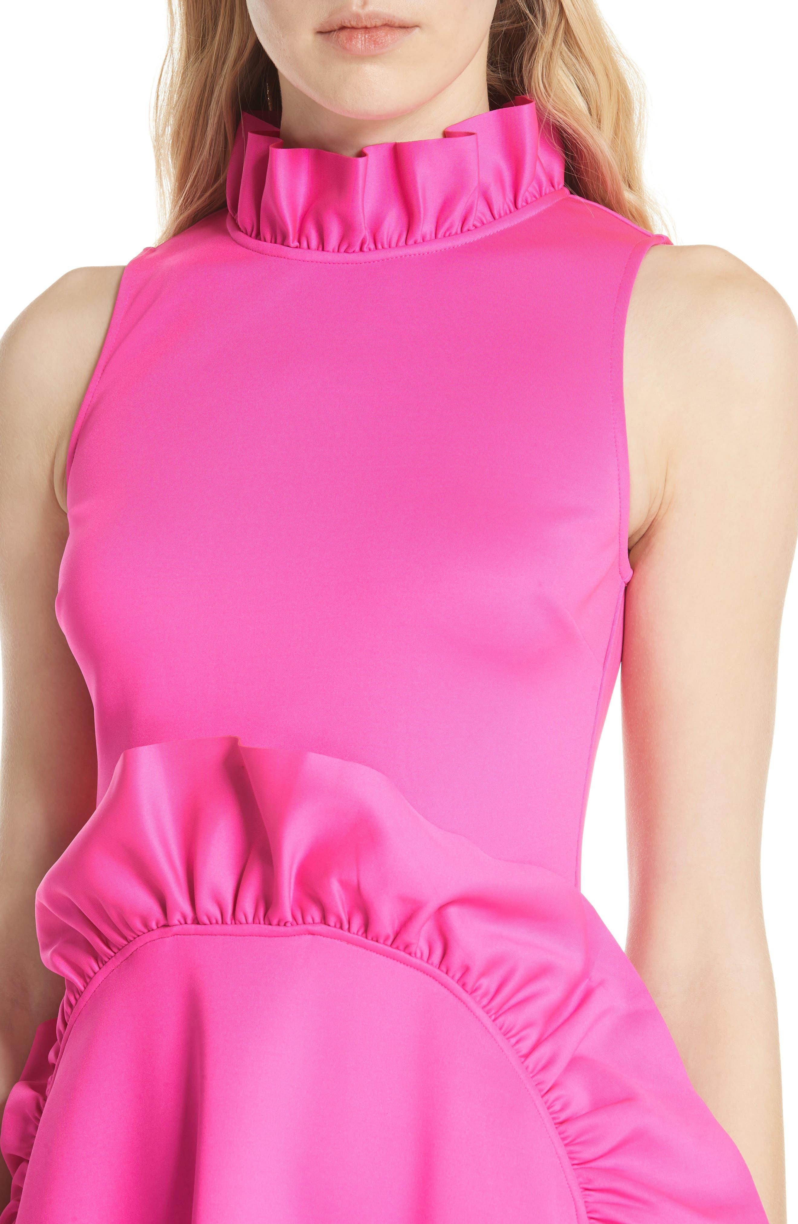 Jannett Laser Cut Ruffle Dress,                             Alternate thumbnail 4, color,                             Neon Pink
