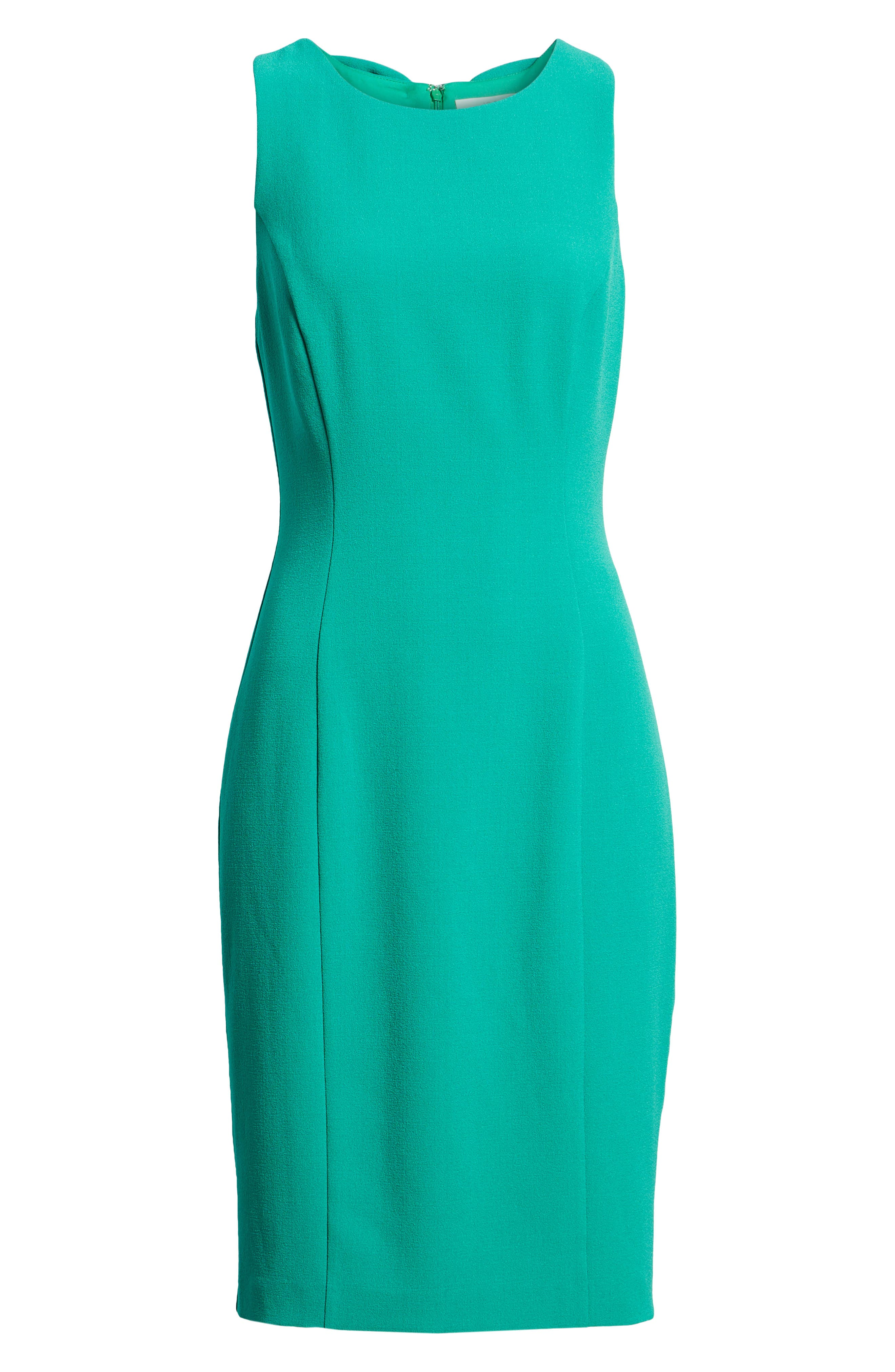 Bow Back Sheath Dress,                             Alternate thumbnail 7, color,                             Green Parakeet
