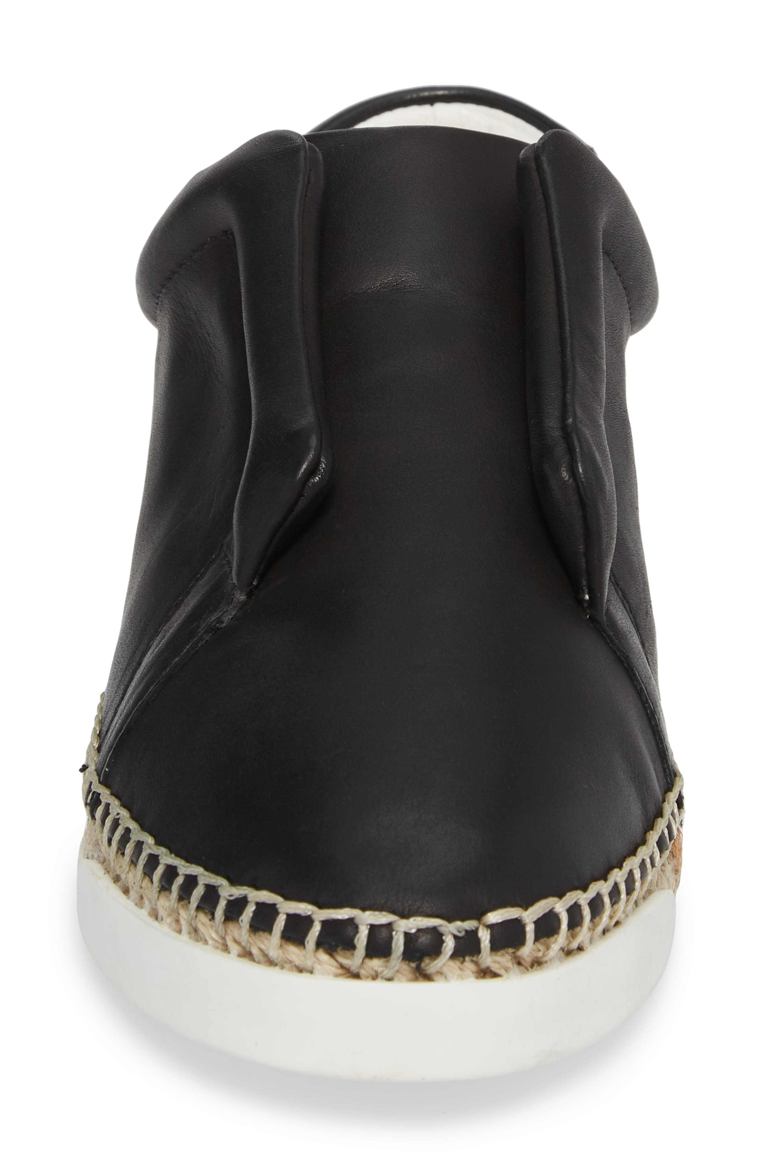 M4D3 Elizabeth Espadrille Slip-On Sneaker,                             Alternate thumbnail 4, color,                             Black Leather
