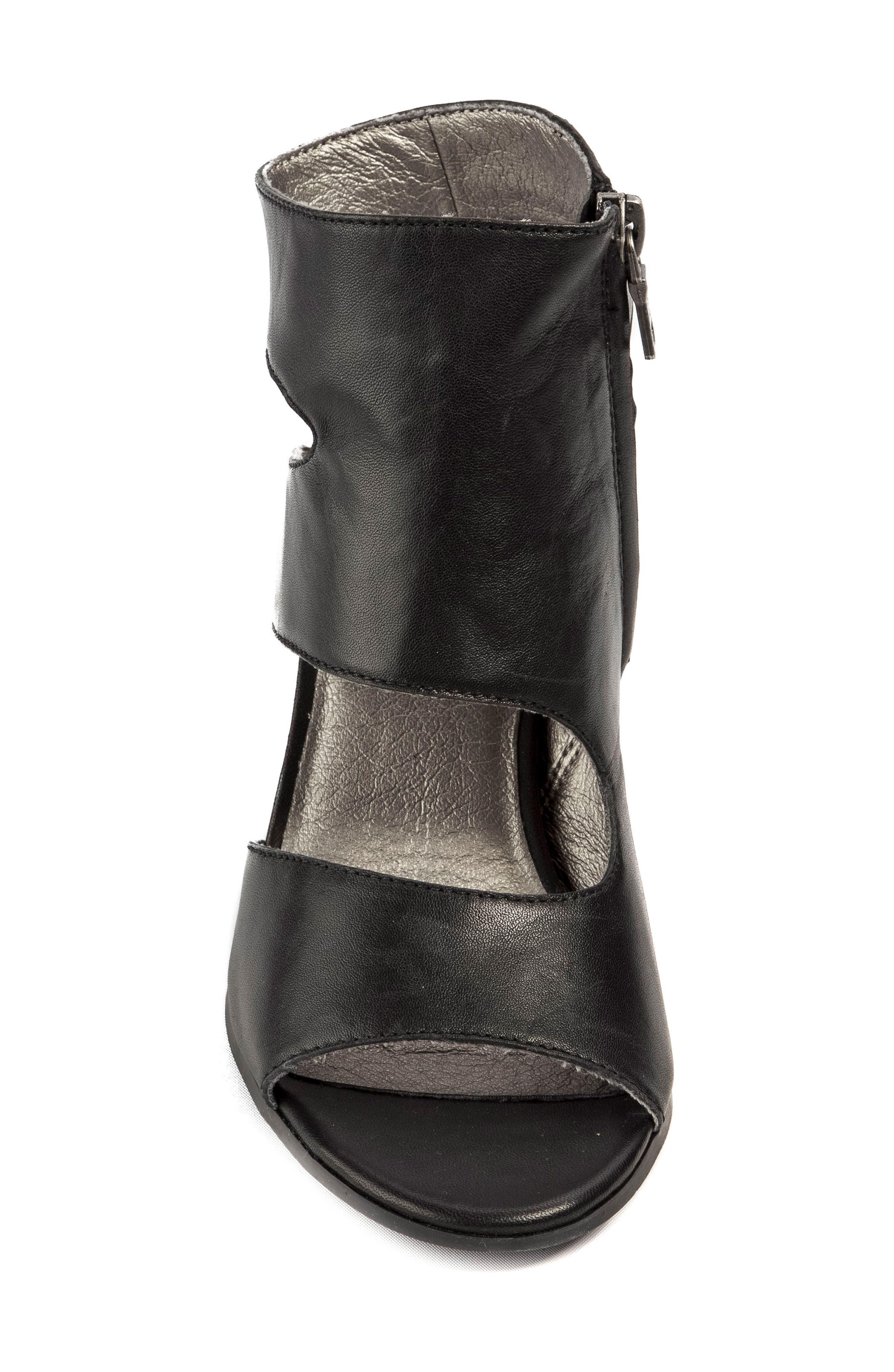Hadie Asymmetrical Tall Sandal,                             Alternate thumbnail 5, color,                             Black Leather