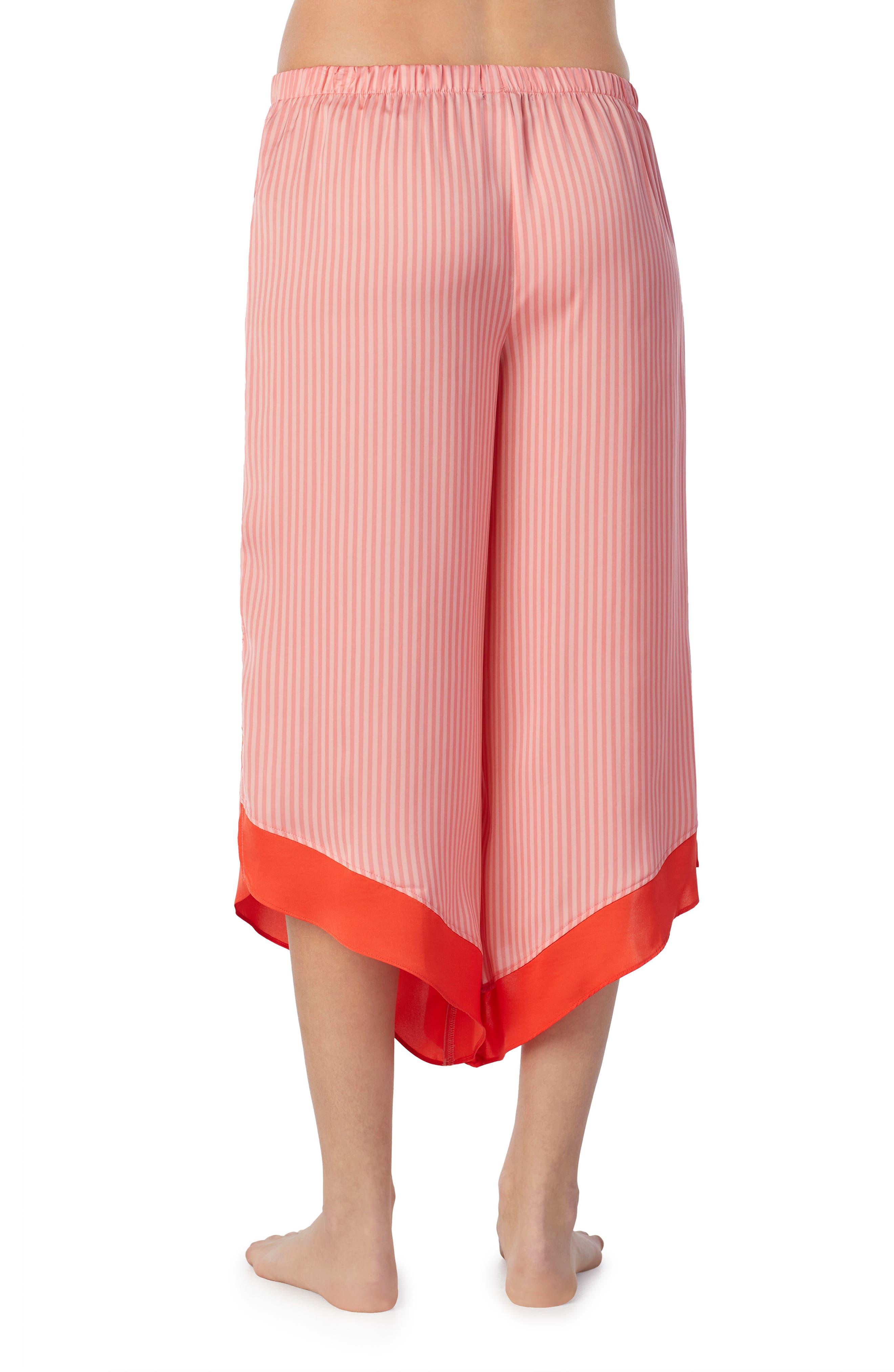 Satin Crop Pants,                             Alternate thumbnail 2, color,                             Pink Glow Stripe