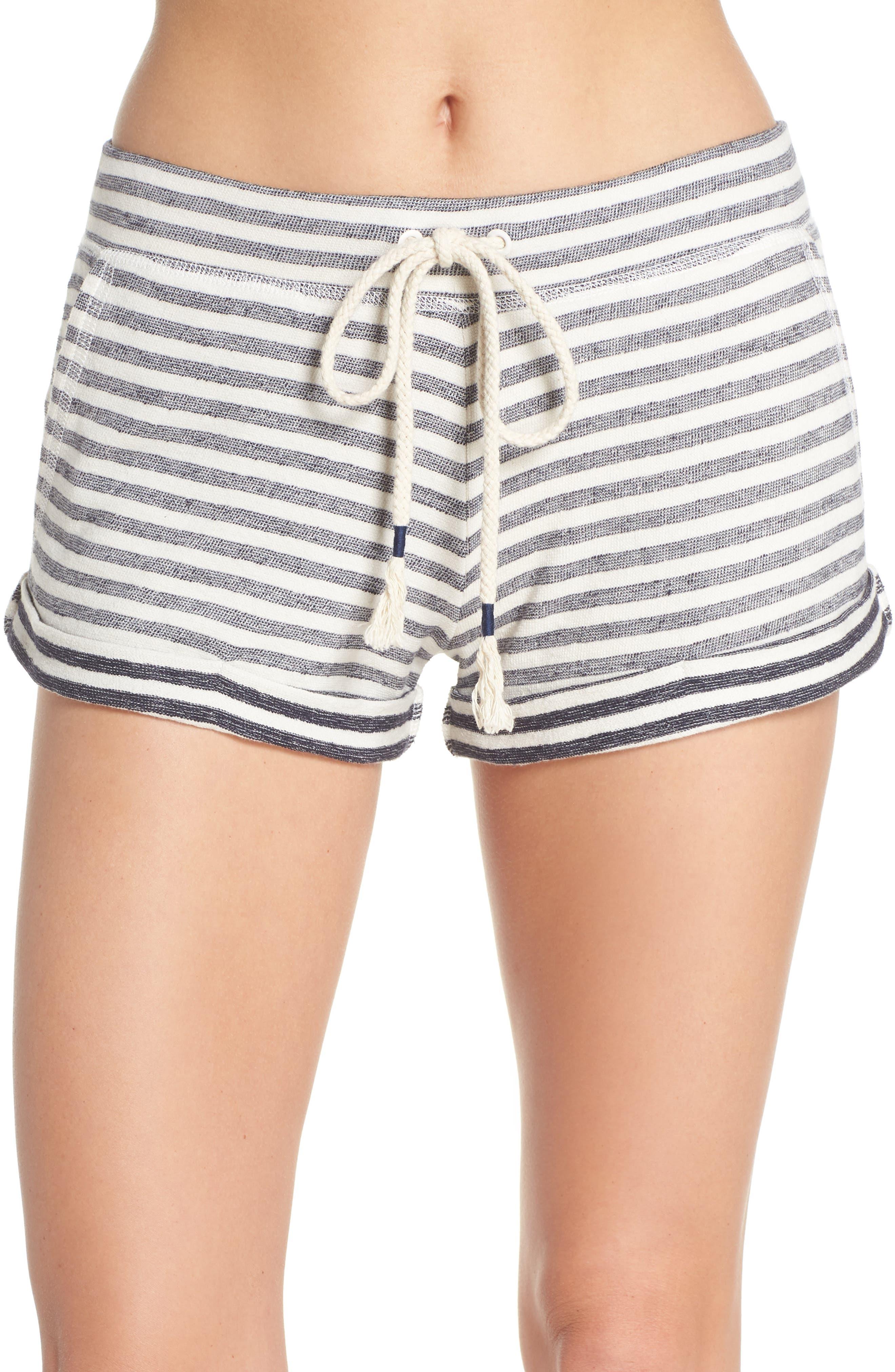 Stripe Pajama Shorts,                             Main thumbnail 1, color,                             Ivory/ Navy Stripe