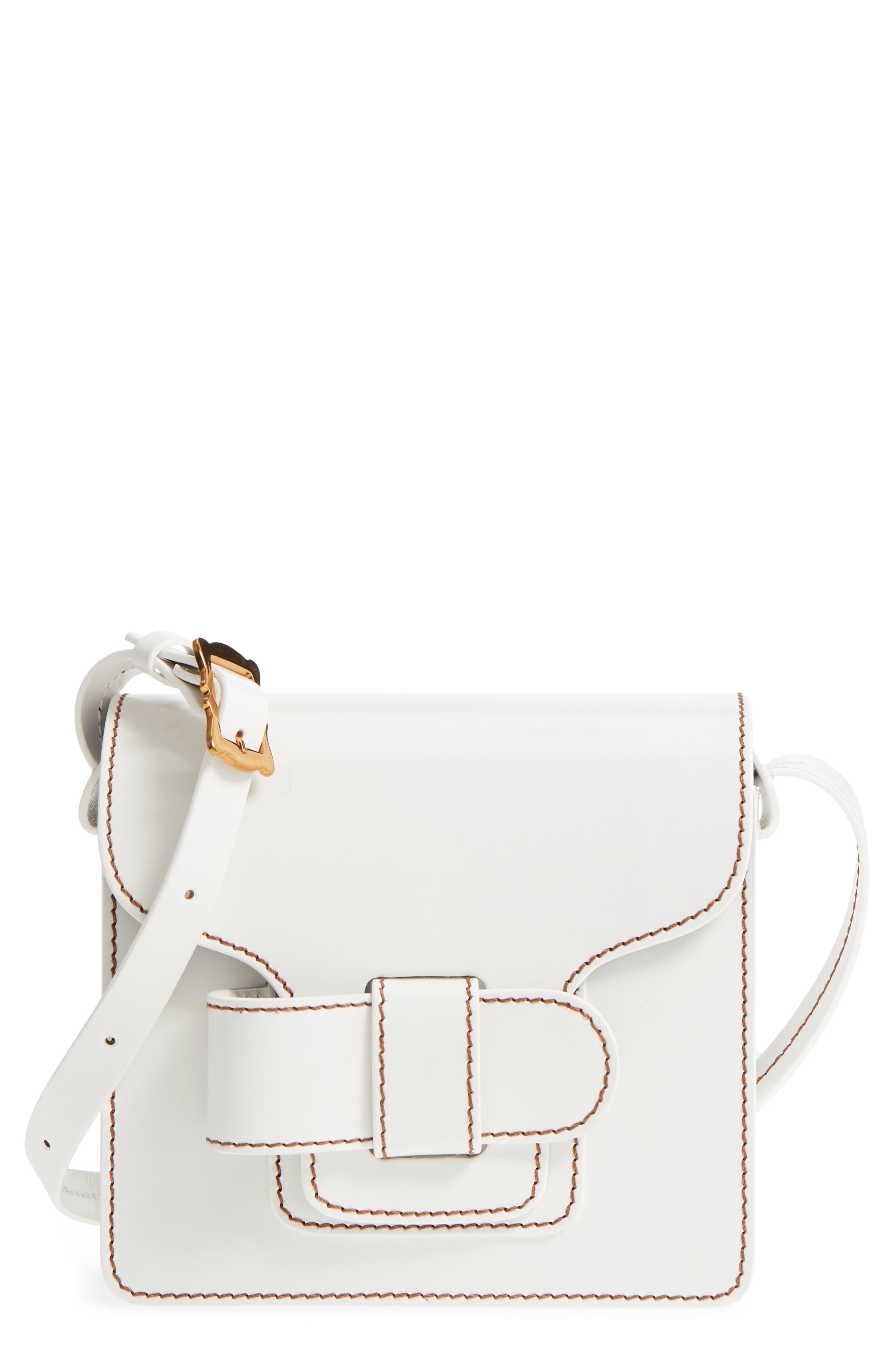 Greta Leather Crossbody Bag,                             Main thumbnail 1, color,                             White