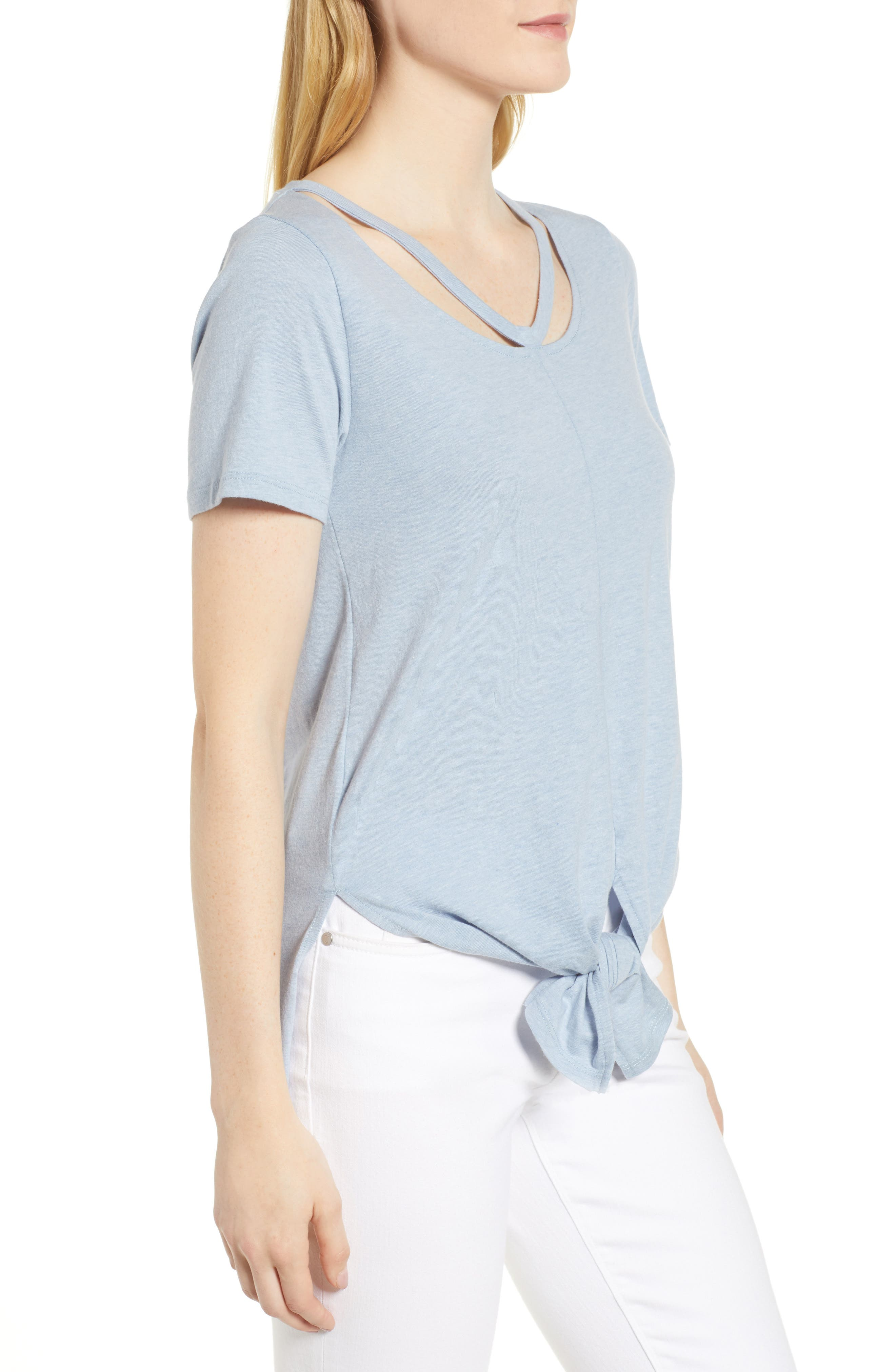 Cutout Neck Front Tie Tee,                             Alternate thumbnail 3, color,                             Washed Blue