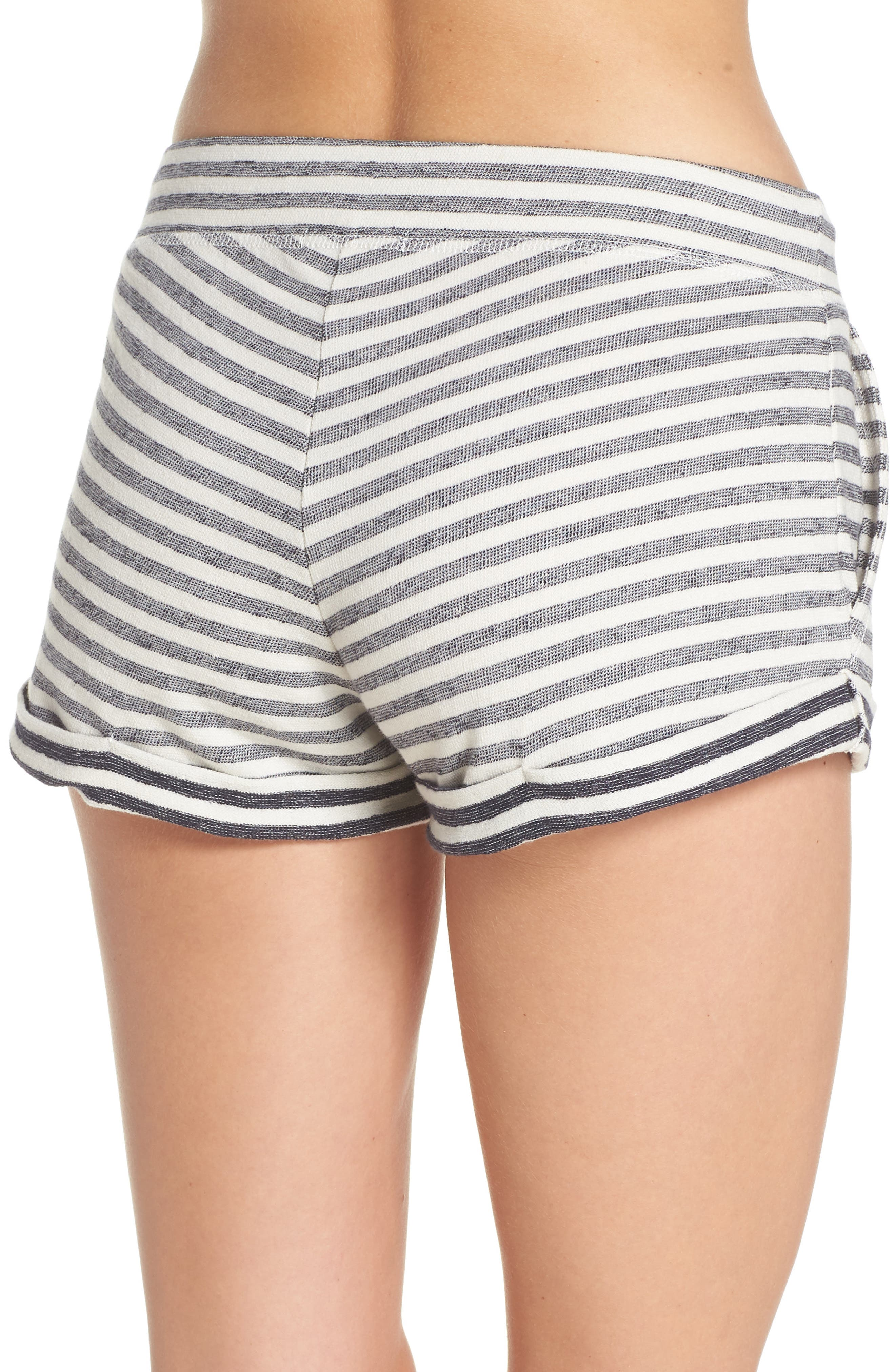 Stripe Pajama Shorts,                             Alternate thumbnail 2, color,                             Ivory/ Navy Stripe