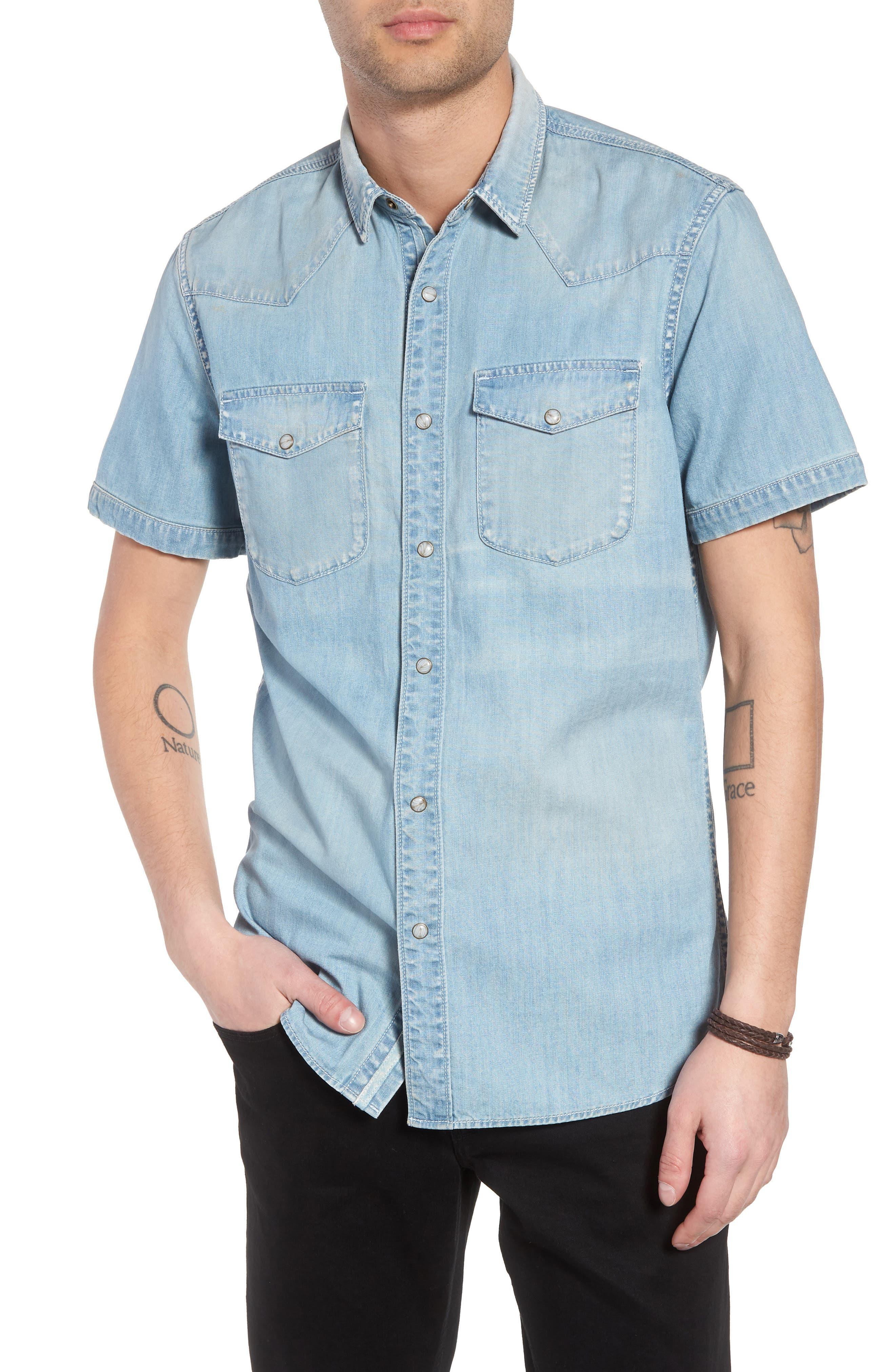 Slim Fit Western Denim Shirt,                             Main thumbnail 1, color,                             Blue Light Vintage Wash