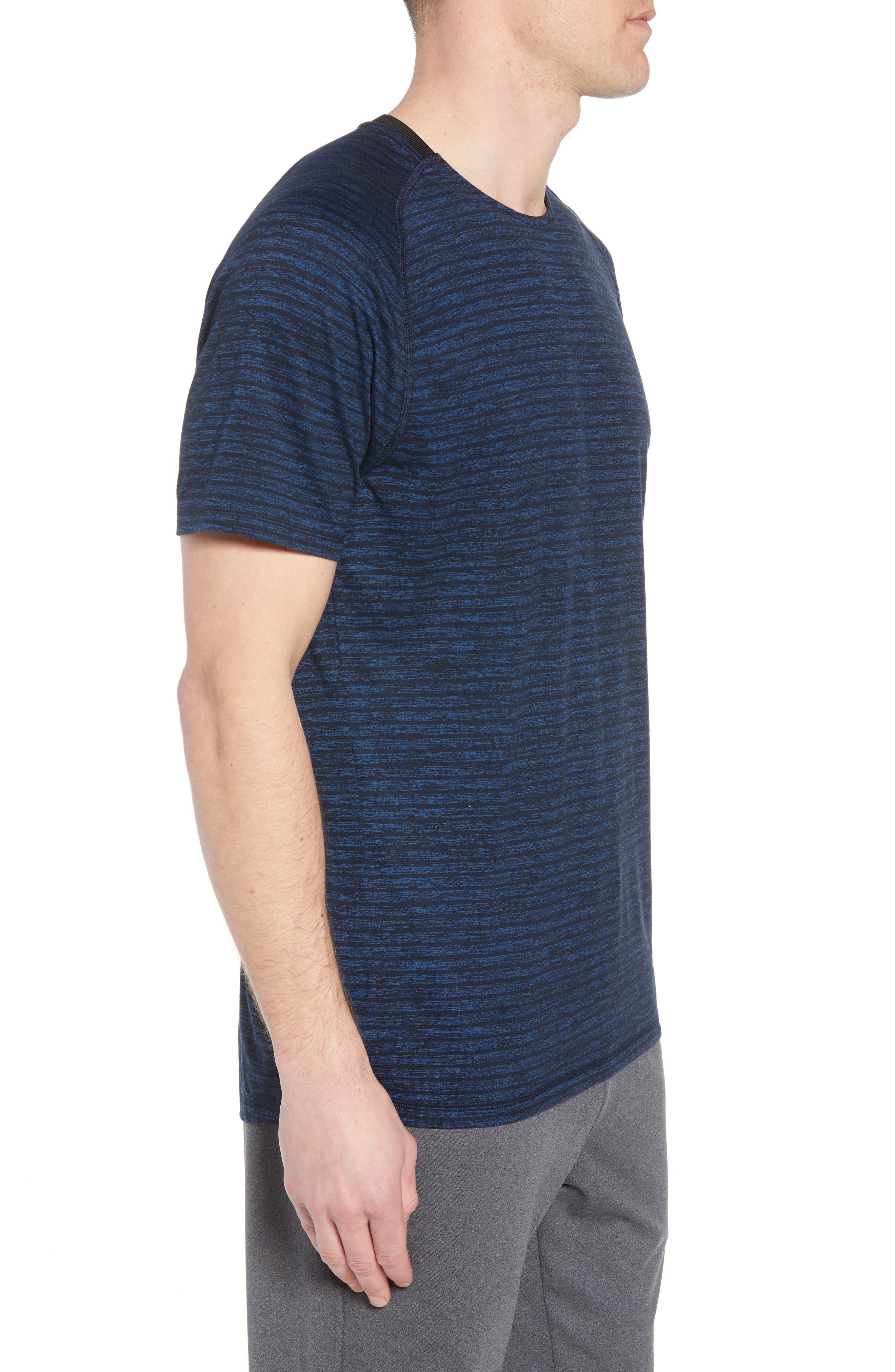 Stripe Crewneck T-Shirt,                             Alternate thumbnail 3, color,                             Blue Iolite Stripe