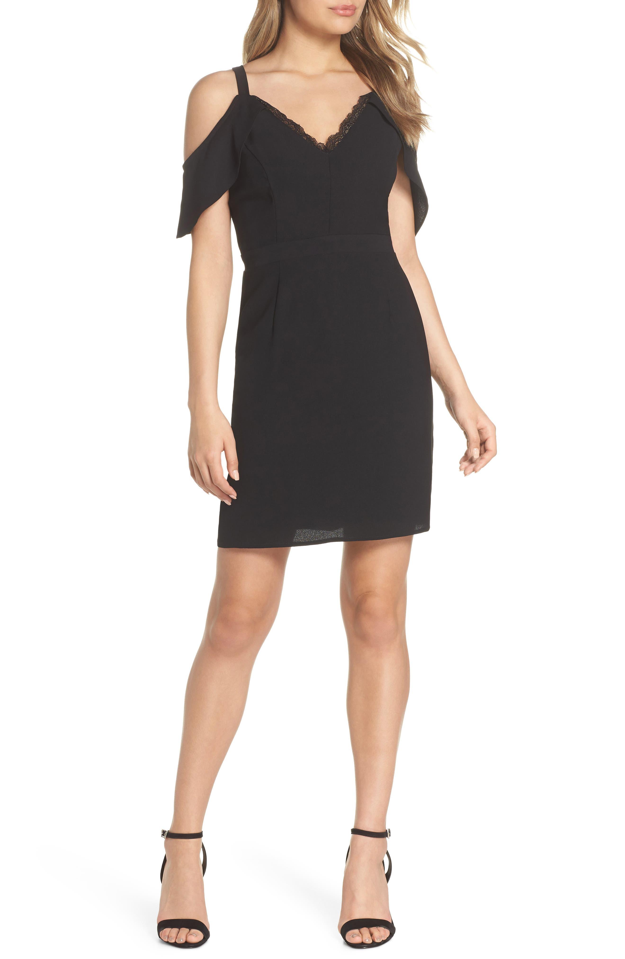 19 Cooper Cold Shoulder Lace Trim Sheath Dress