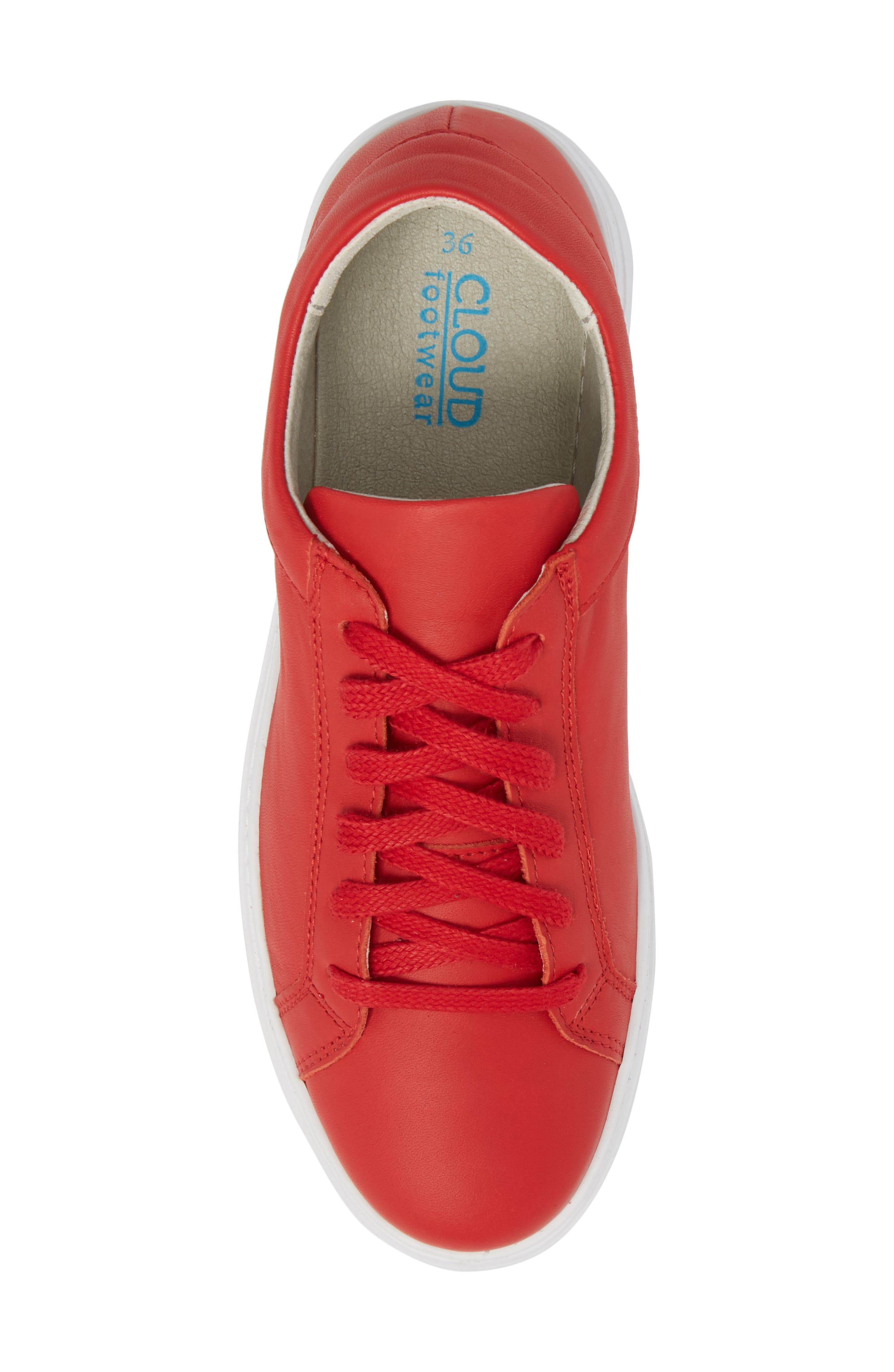 Tully Sneaker,                             Alternate thumbnail 5, color,                             Red Leather