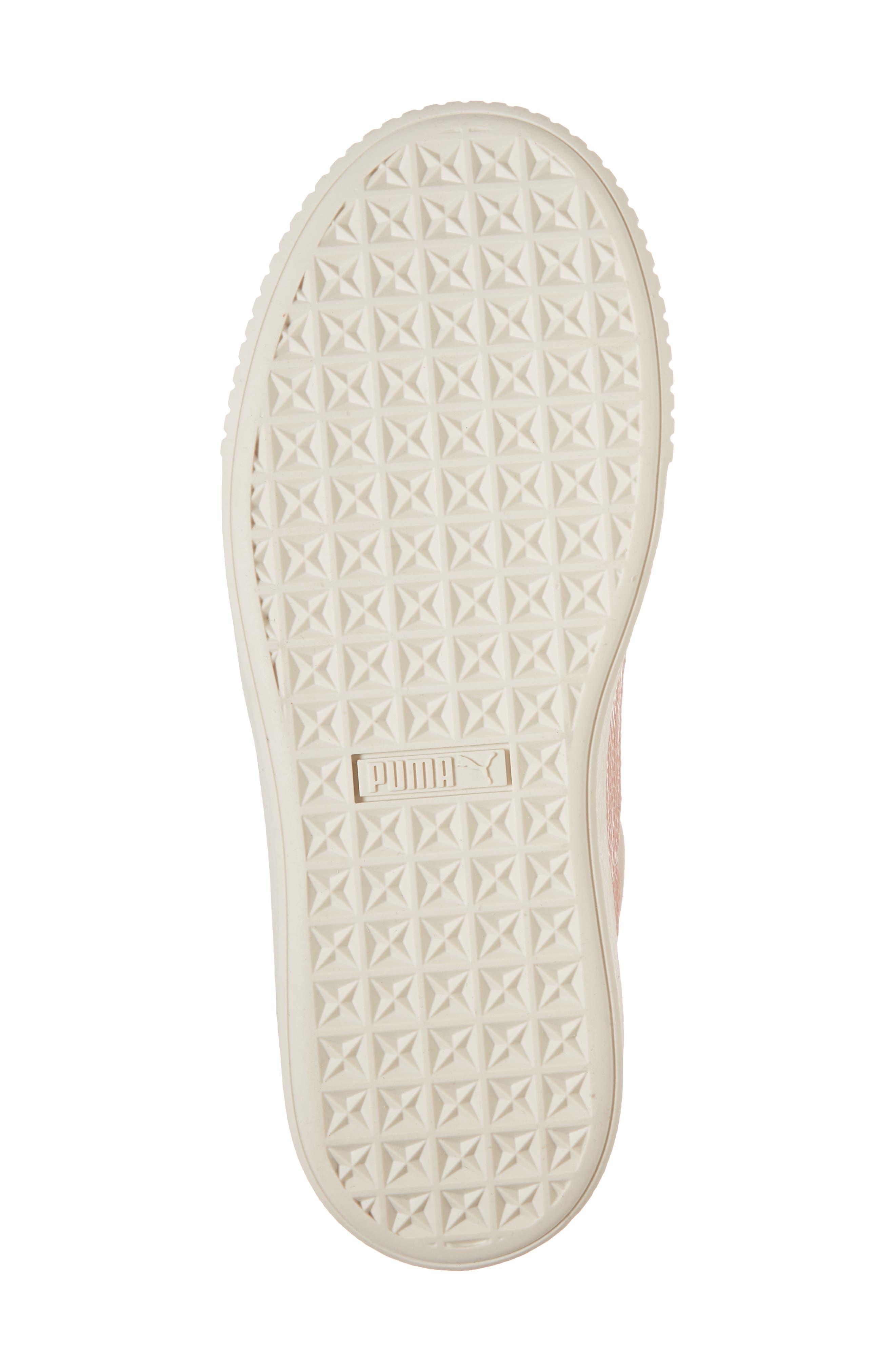 Suede Platform Jr Sneaker,                             Alternate thumbnail 6, color,                             Pearl/ Peach Beige