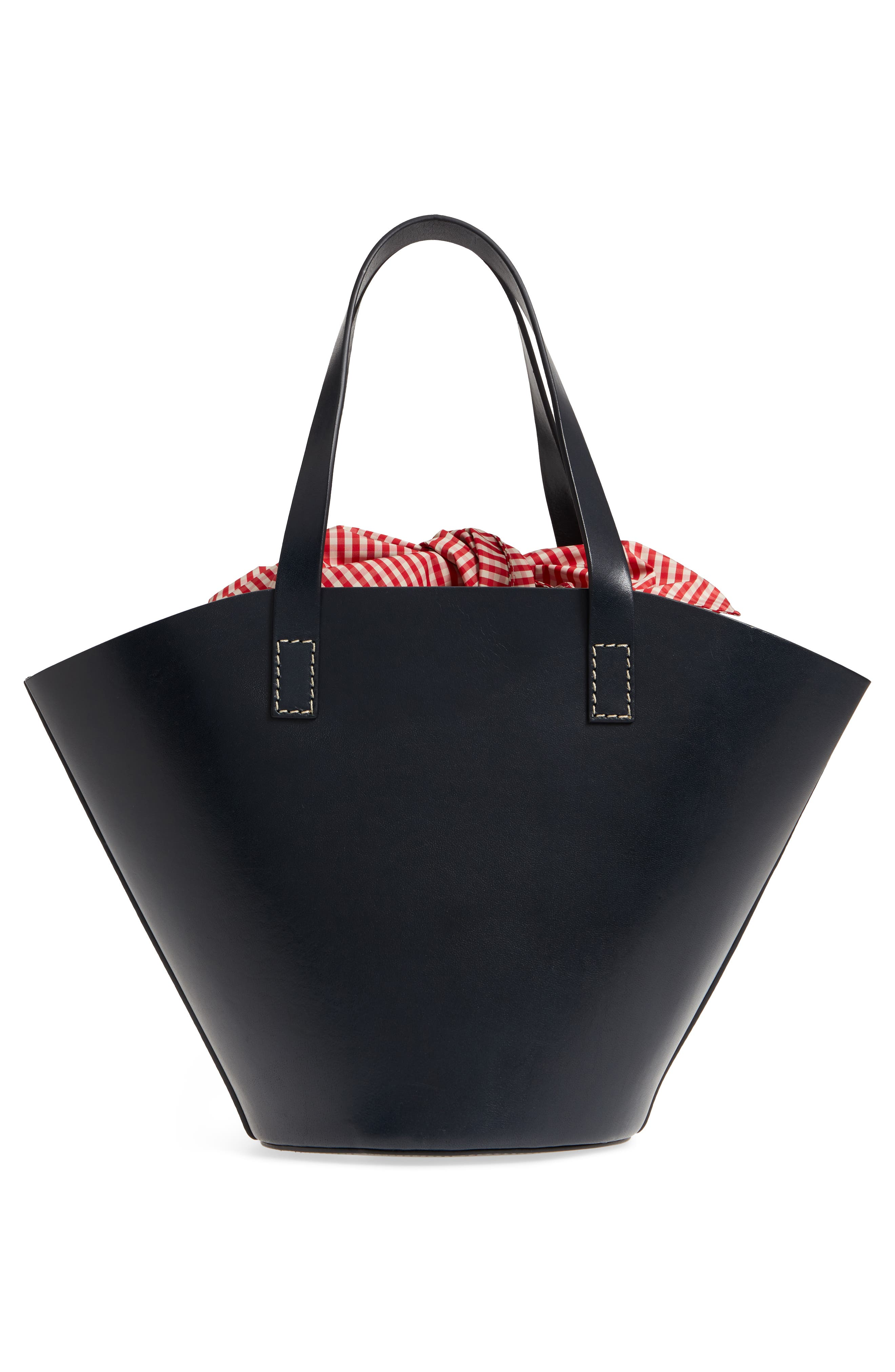 Large Leather Bucket Bag,                             Alternate thumbnail 3, color,                             Dark Navy