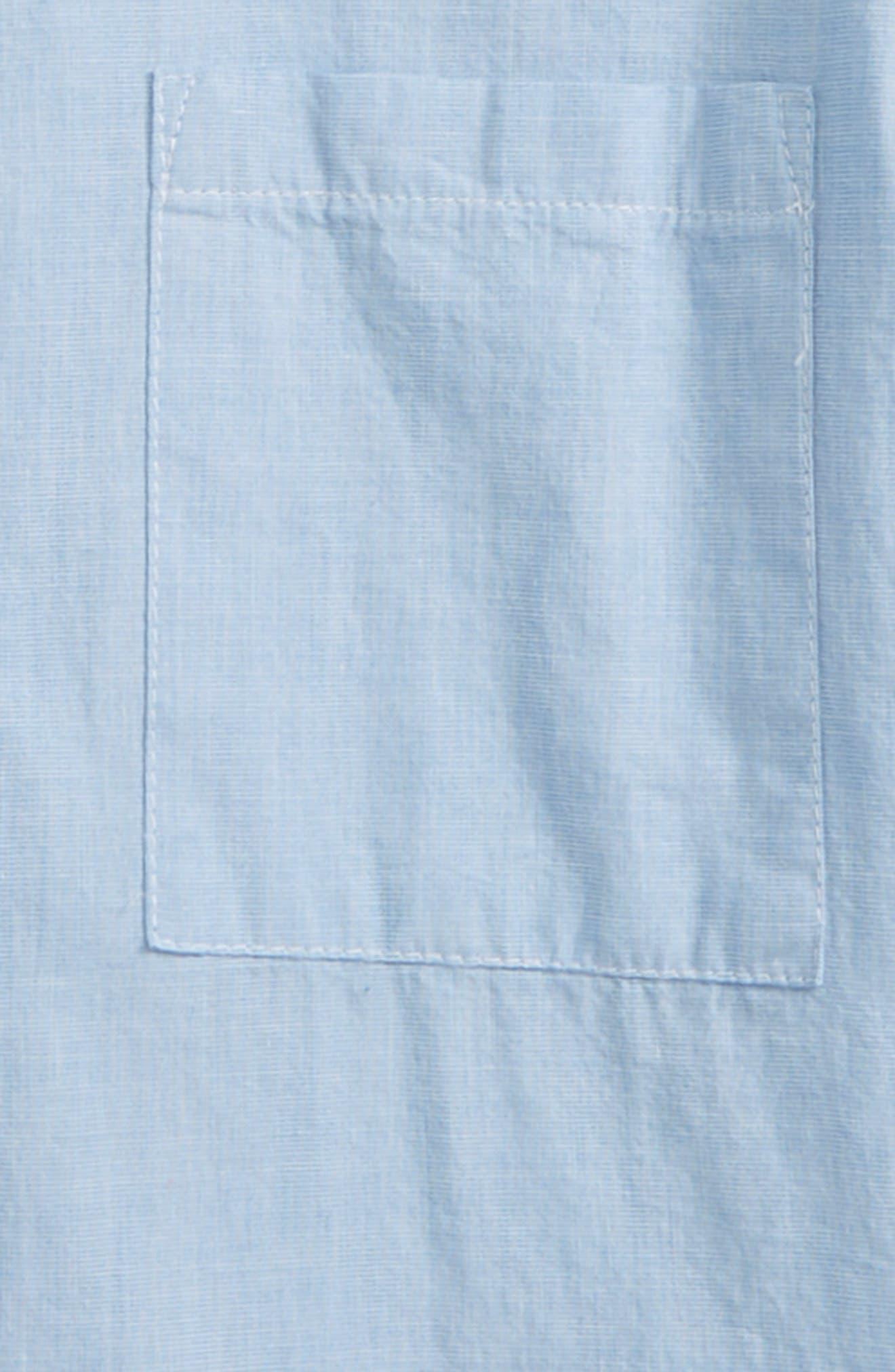 Collarless Shirt,                             Alternate thumbnail 2, color,                             Blue Chambray Grid