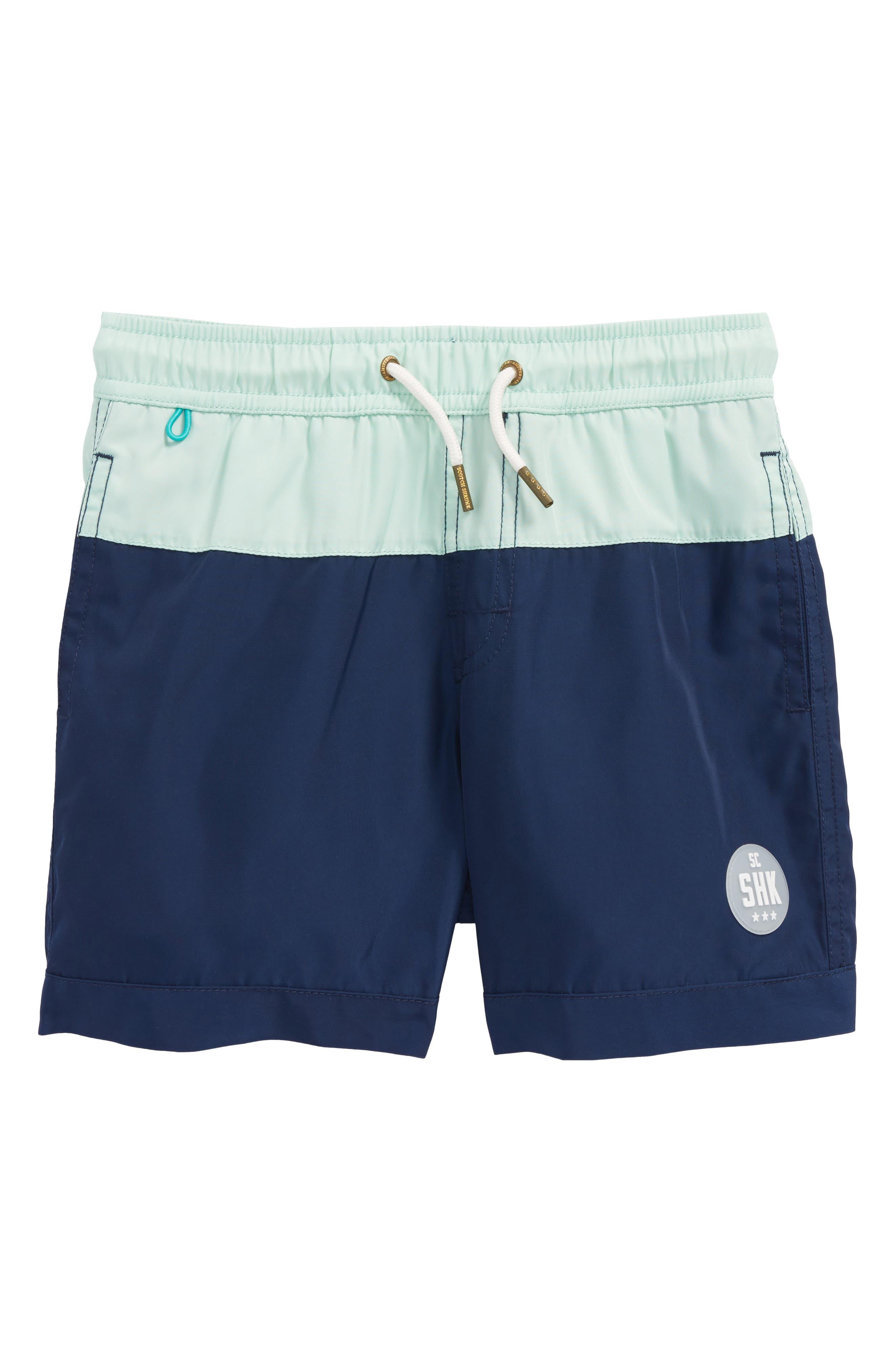 Colorblock Swim Trunks,                         Main,                         color, Blue