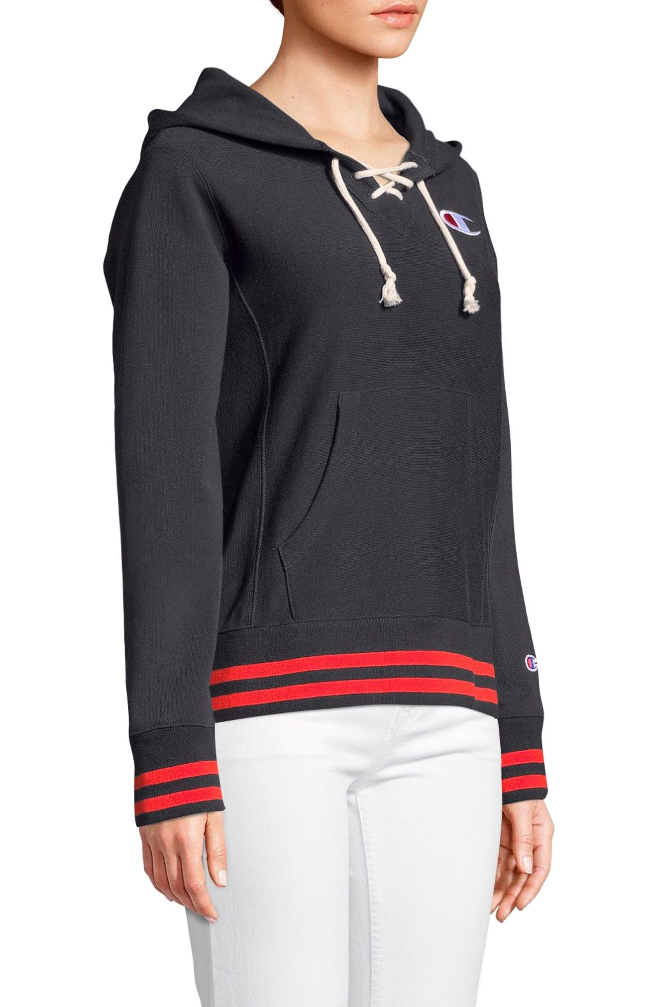 Lace-Up Terry Hoodie,                             Alternate thumbnail 3, color,                             White Stripe