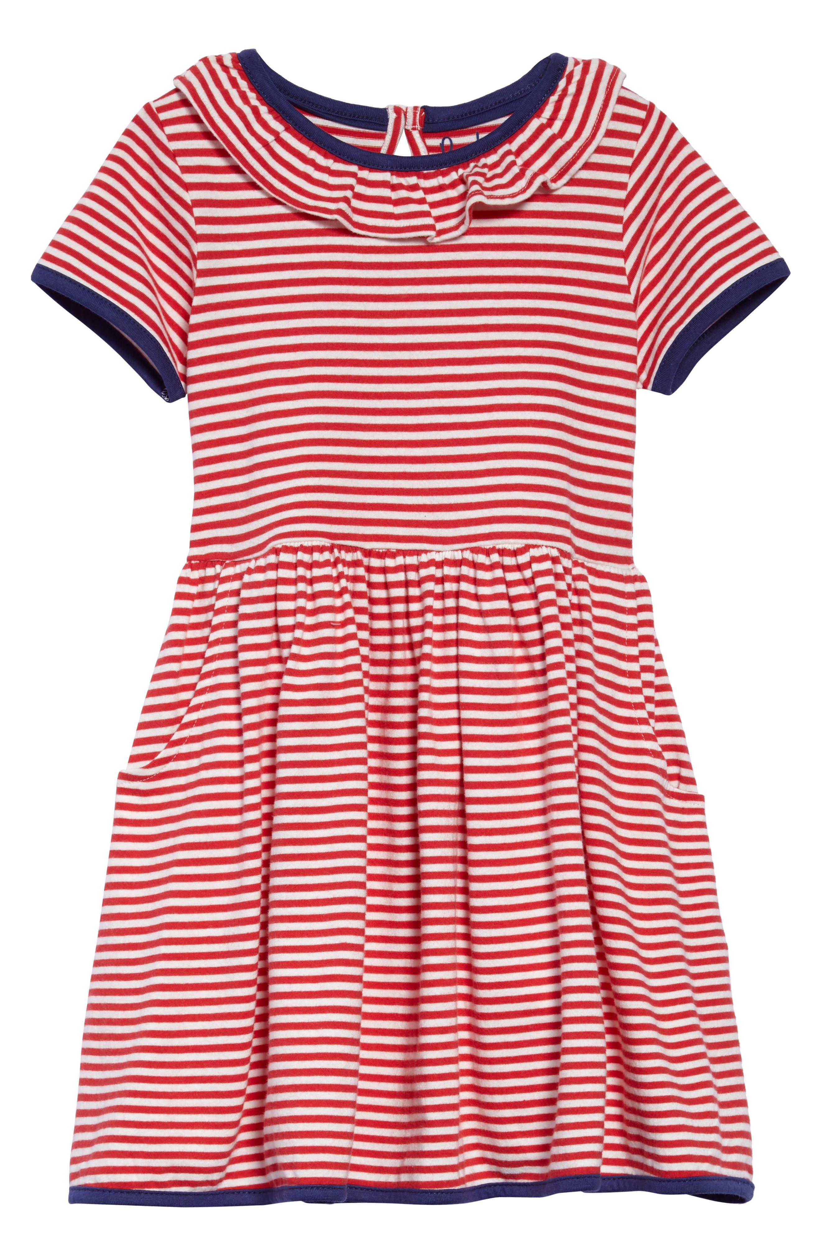Stripe Jersey Dress,                             Main thumbnail 1, color,                             Circus Red/ Ecru