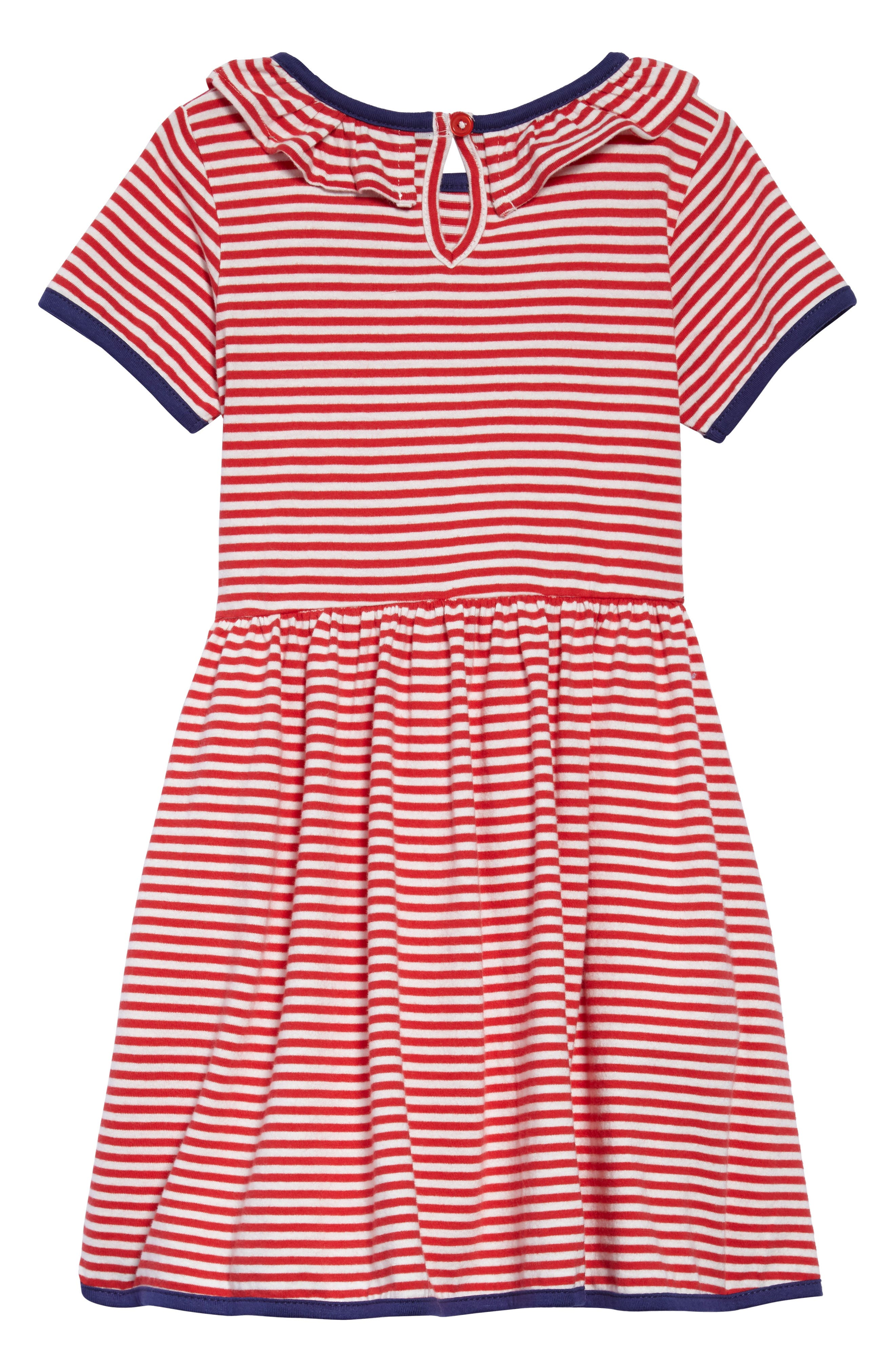 Stripe Jersey Dress,                             Alternate thumbnail 2, color,                             Circus Red/ Ecru