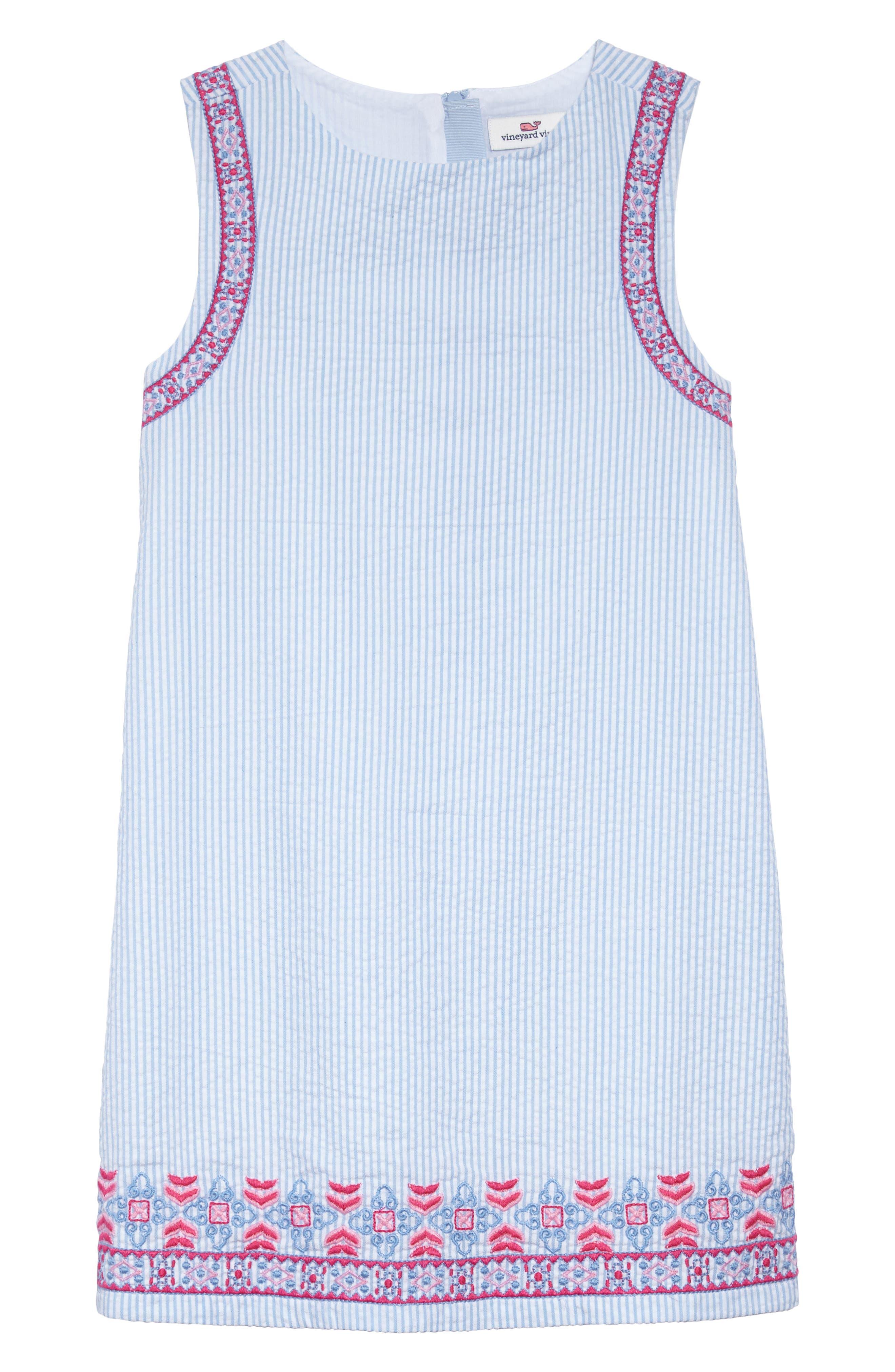 Embroidered Seersucker Shift Dress,                             Main thumbnail 1, color,                             Ocean Breeze