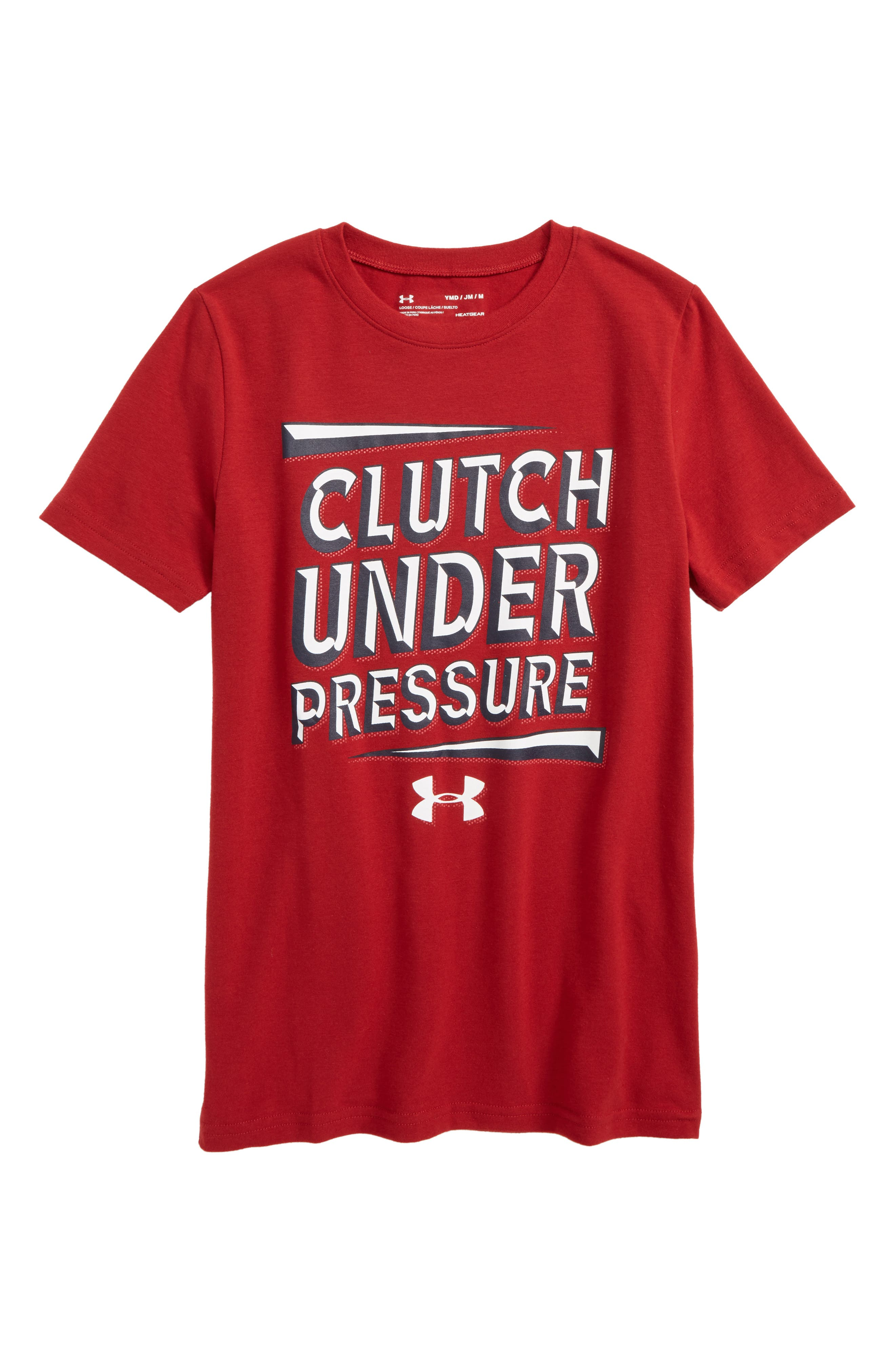 Clutch under Pressure Graphic HeatGear<sup>®</sup> T-Shirt,                             Main thumbnail 1, color,                             Rapture Red/ White