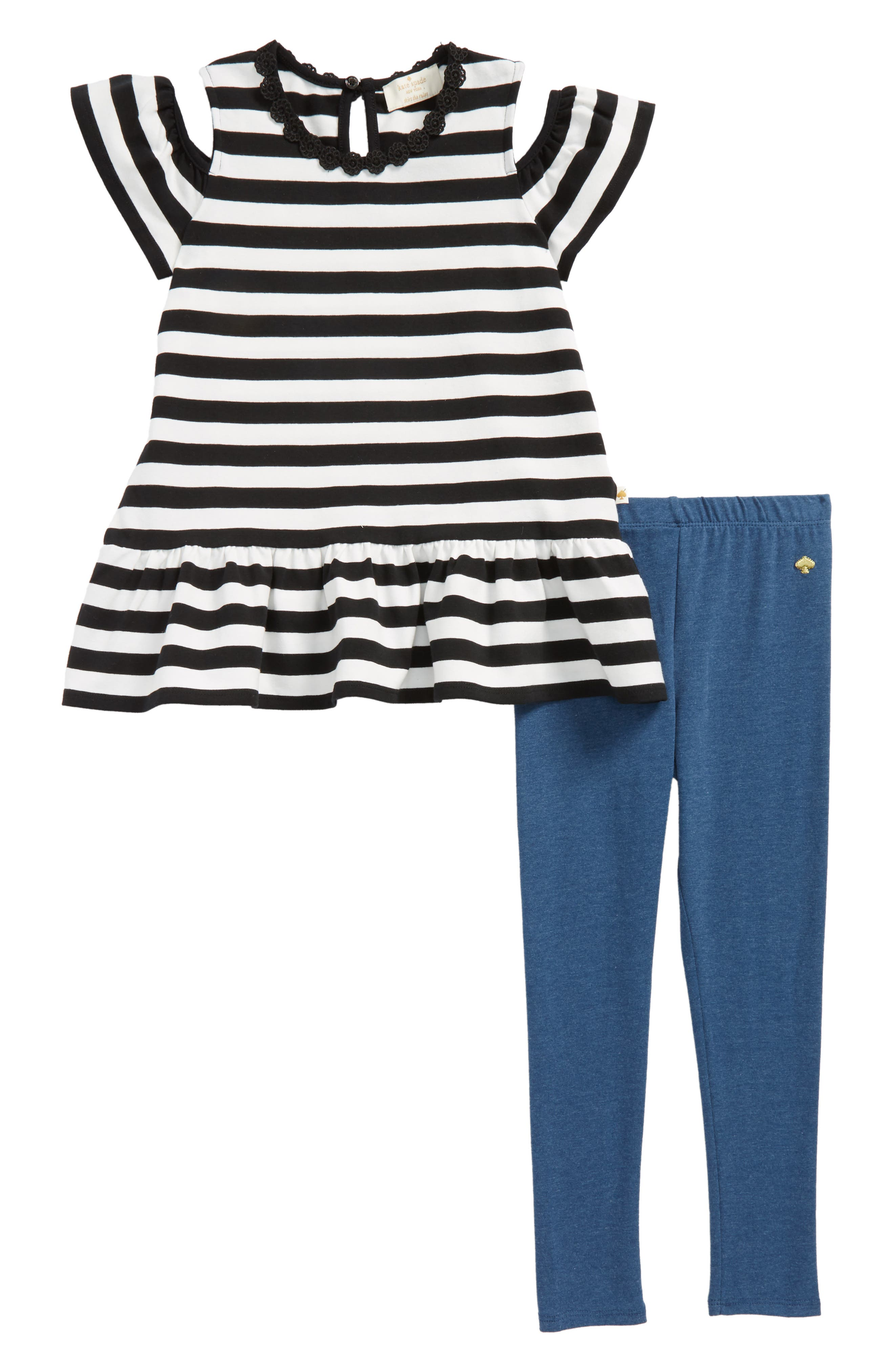 stripe cold shoulder tee & leggings set,                         Main,                         color, Black/ Fresh White