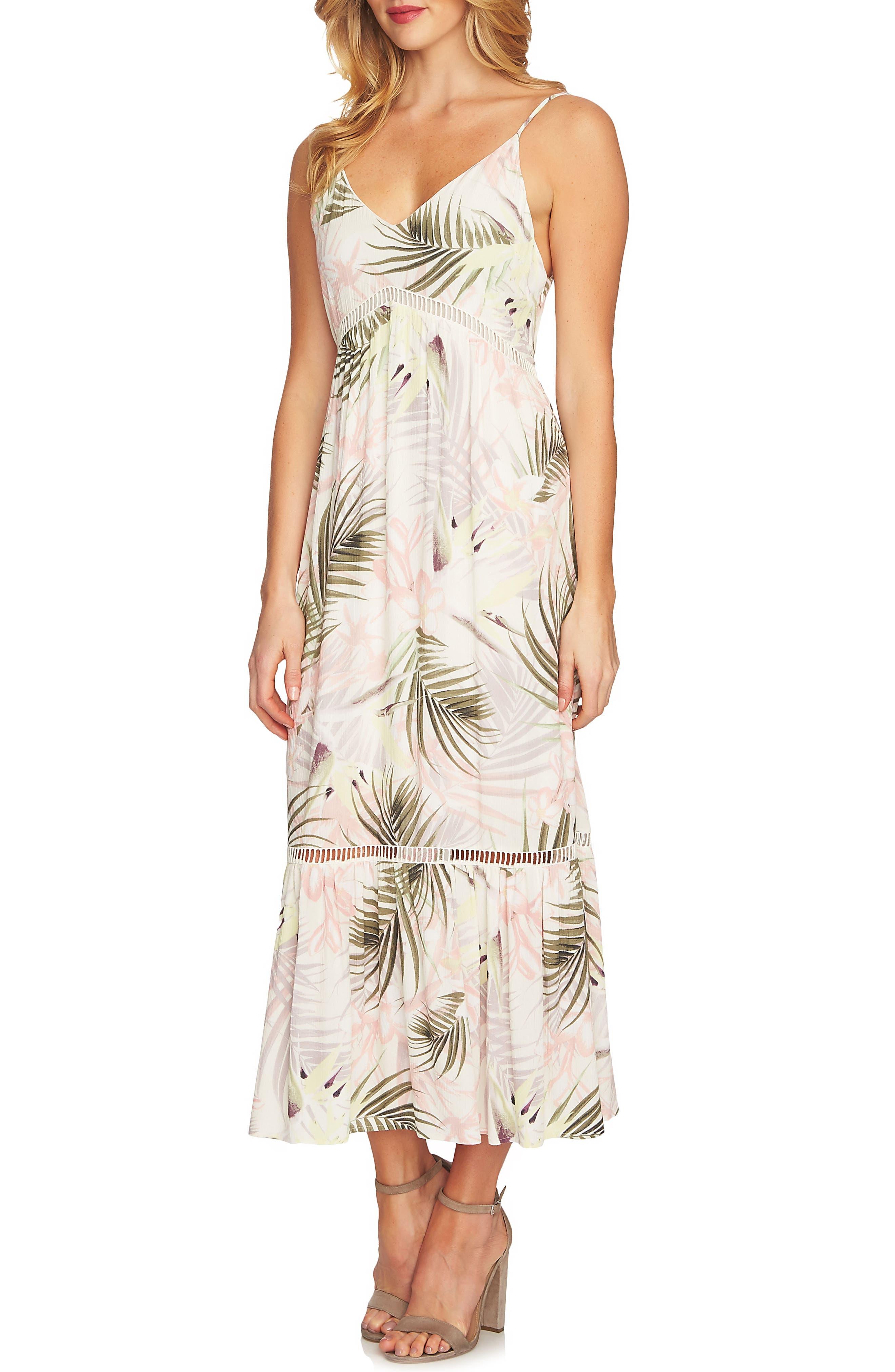 Soft Palms Midi Dress,                         Main,                         color, Antique White