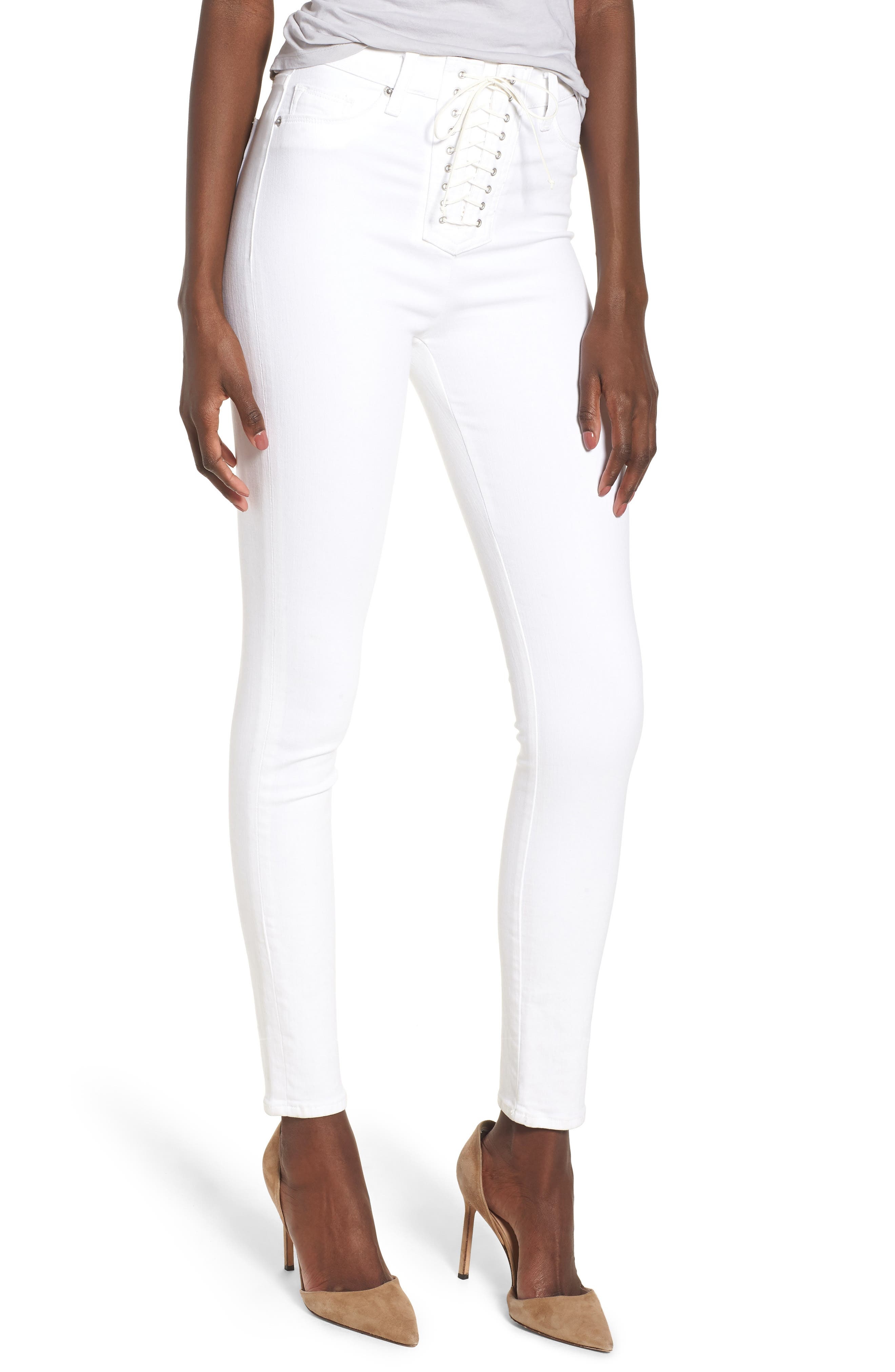 Bullocks Lace-Up High Waist Super Skinny Jeans,                             Main thumbnail 1, color,                             Optical White