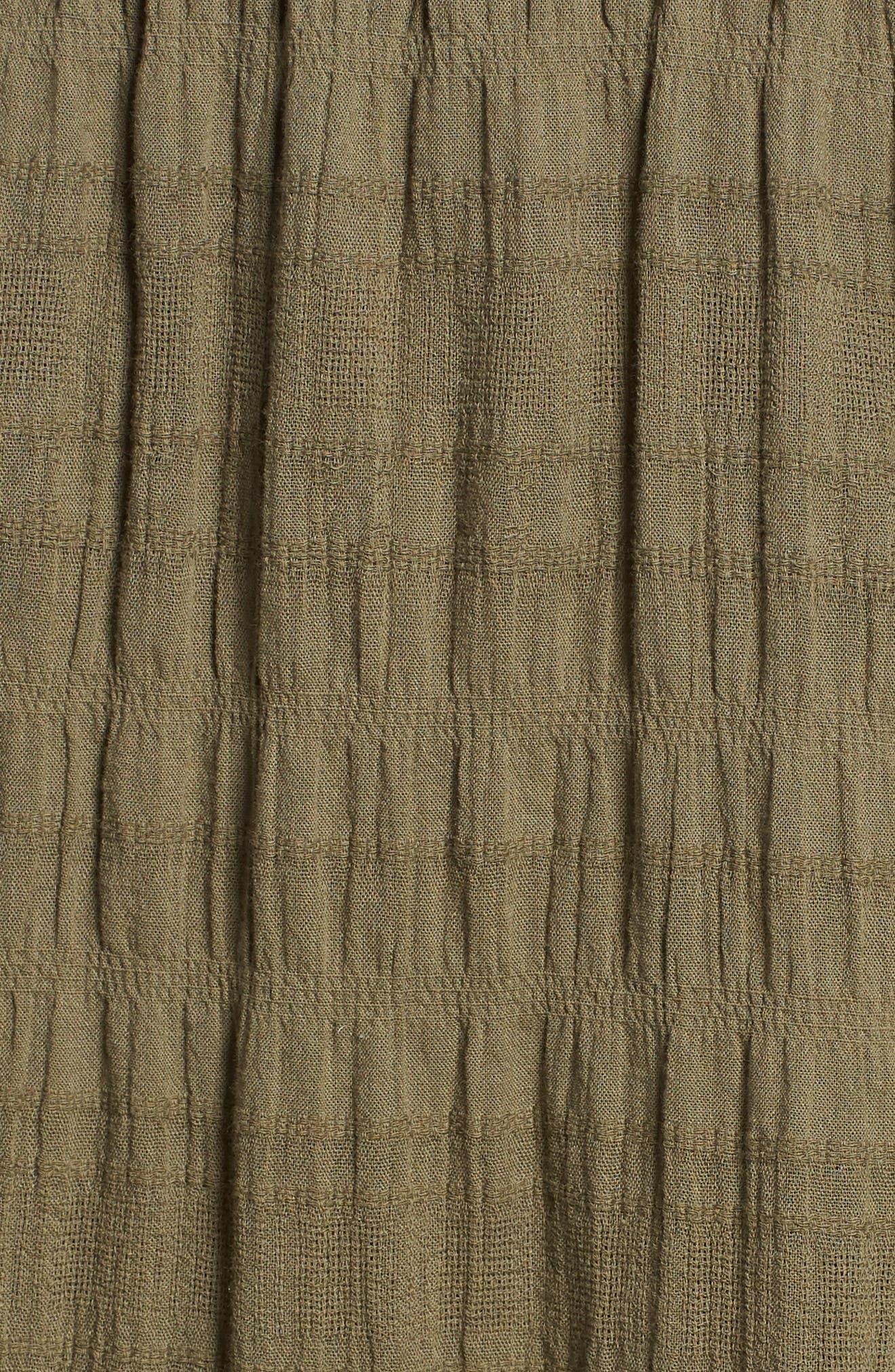 Smocked Stretch Cotton Mini Skirt,                             Alternate thumbnail 4, color,                             Olive Kalamata