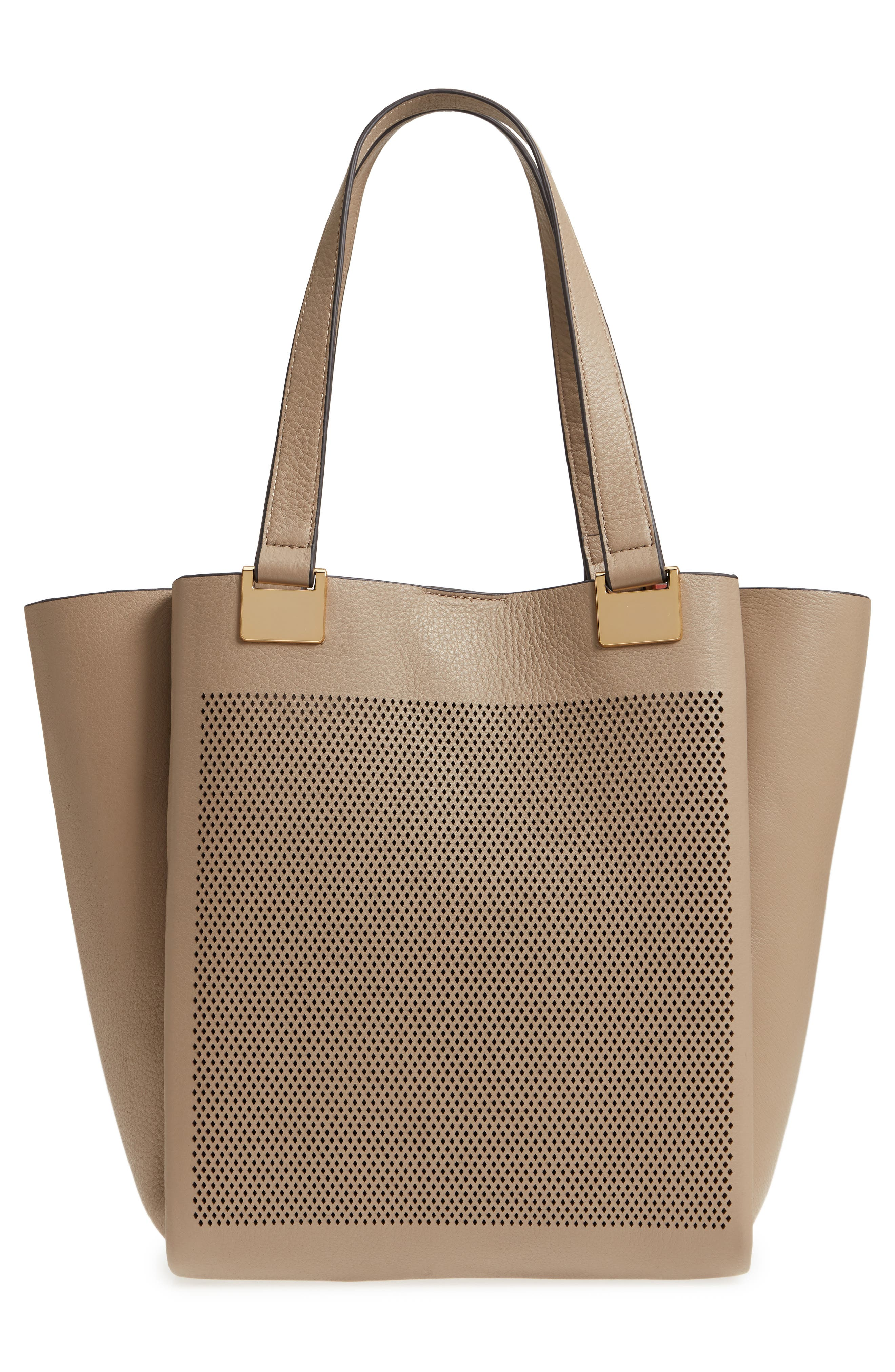 Beatt Perforated Leather Tote,                             Alternate thumbnail 3, color,                             Kangaroo/ Sushi