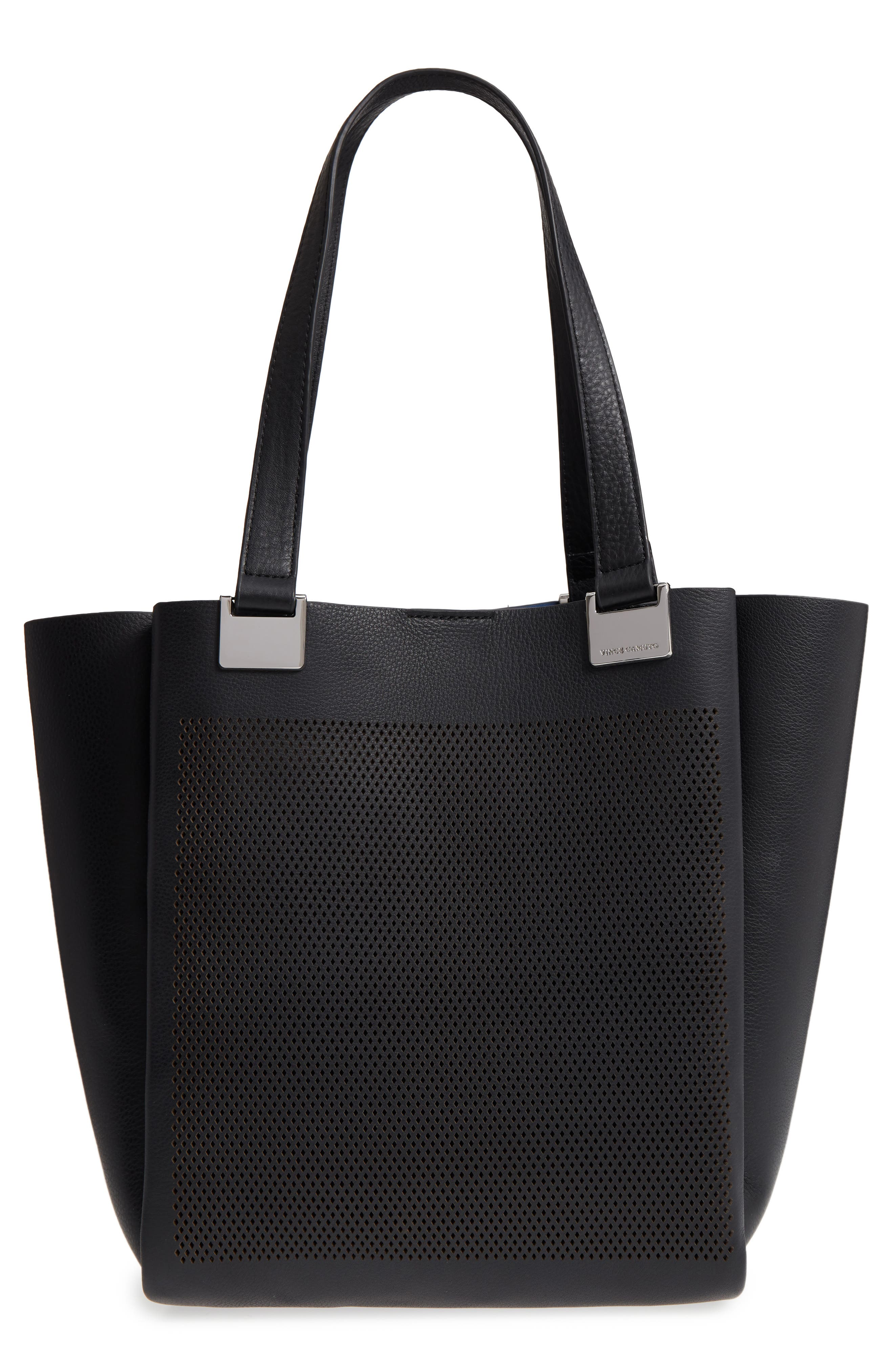 Beatt Perforated Leather Tote,                             Main thumbnail 1, color,                             Nero/ True Blue