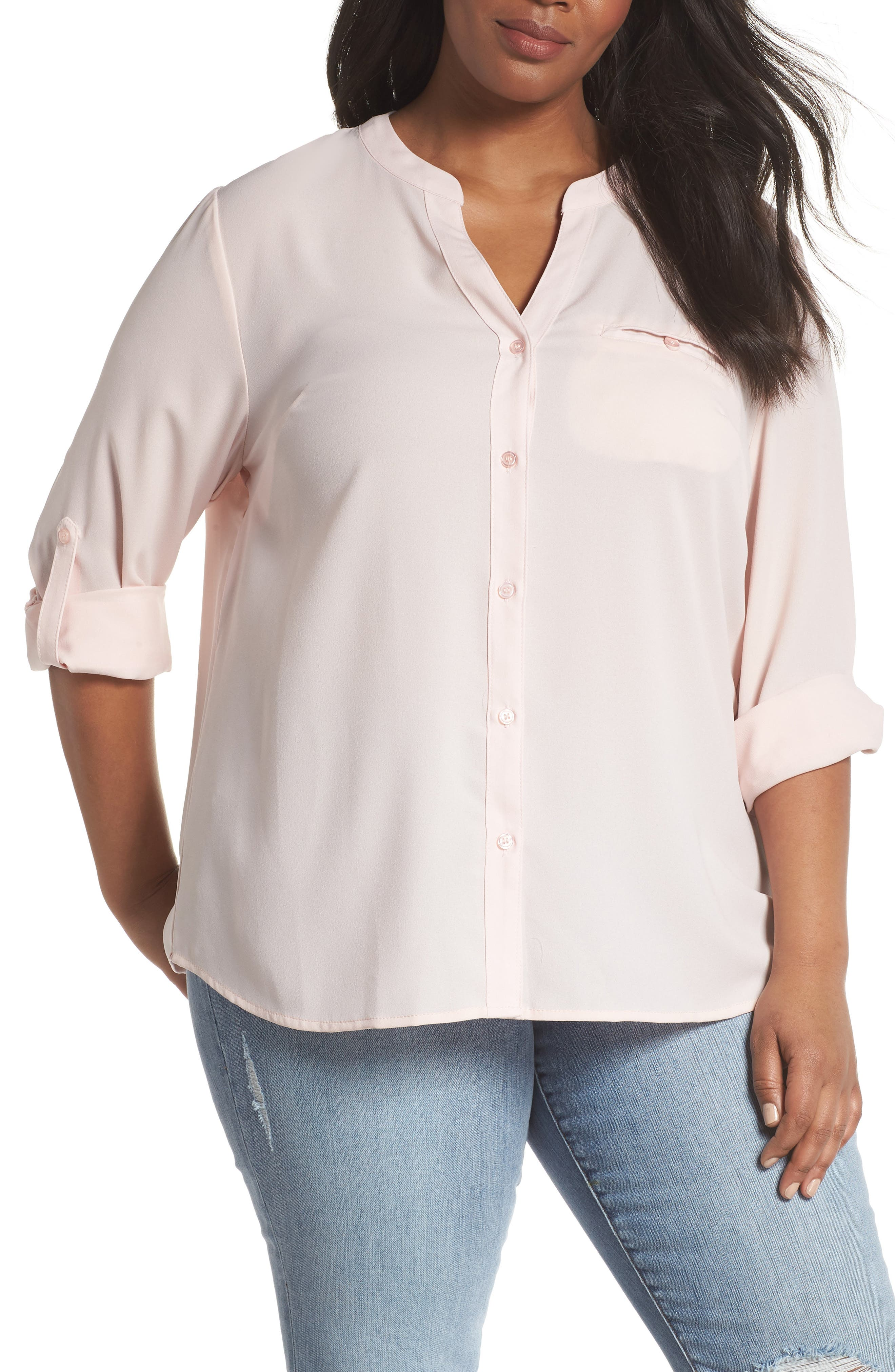 KUT from the Kloth Jasmine Roll Sleeve Top (Plus Size)