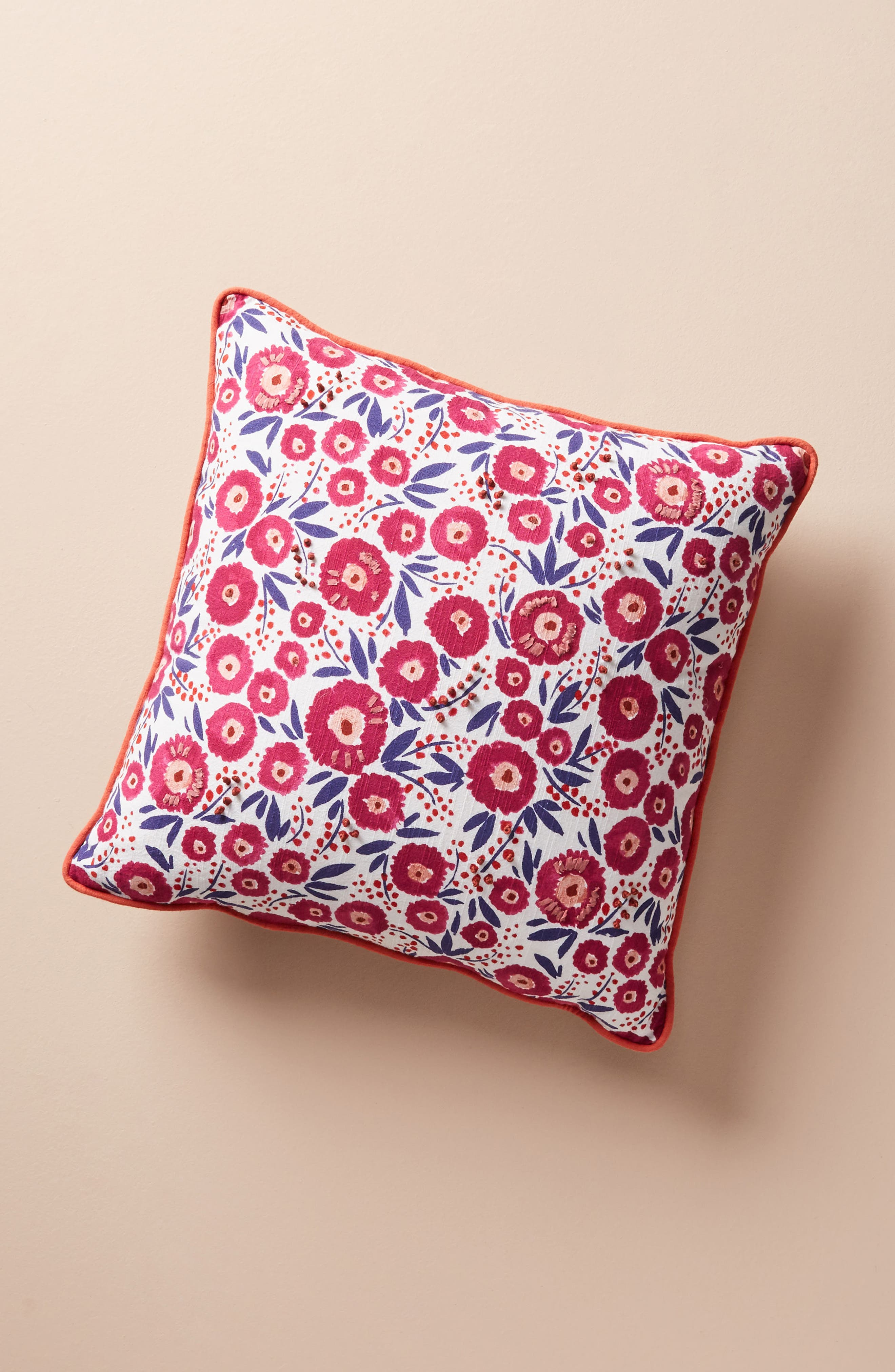 Painted Poppies Accent Pillow,                         Main,                         color, Raspberry
