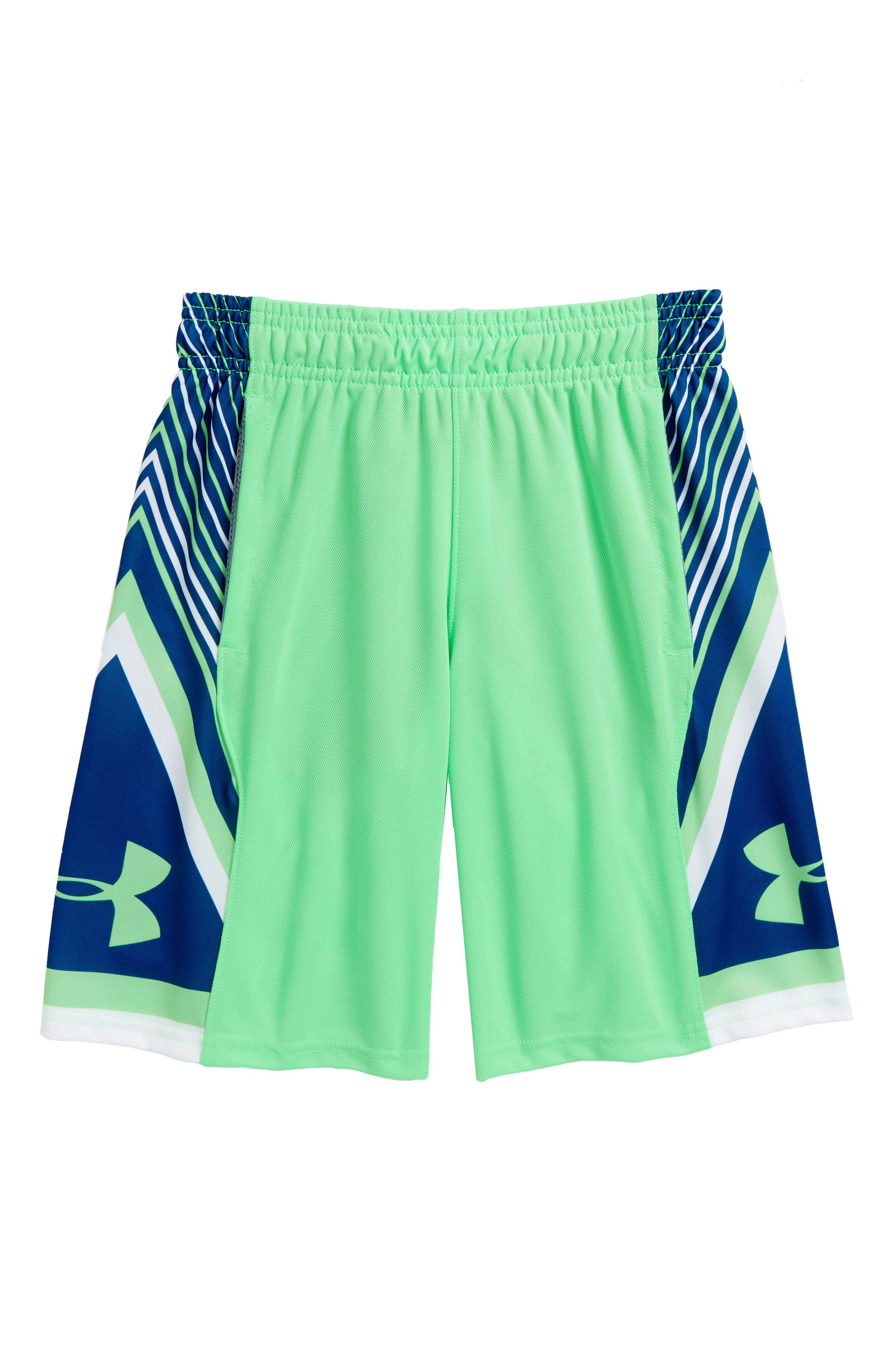 Space the Floor HeatGear<sup>®</sup> Shorts,                             Main thumbnail 1, color,                             Arena Green/ Moroccan Blue