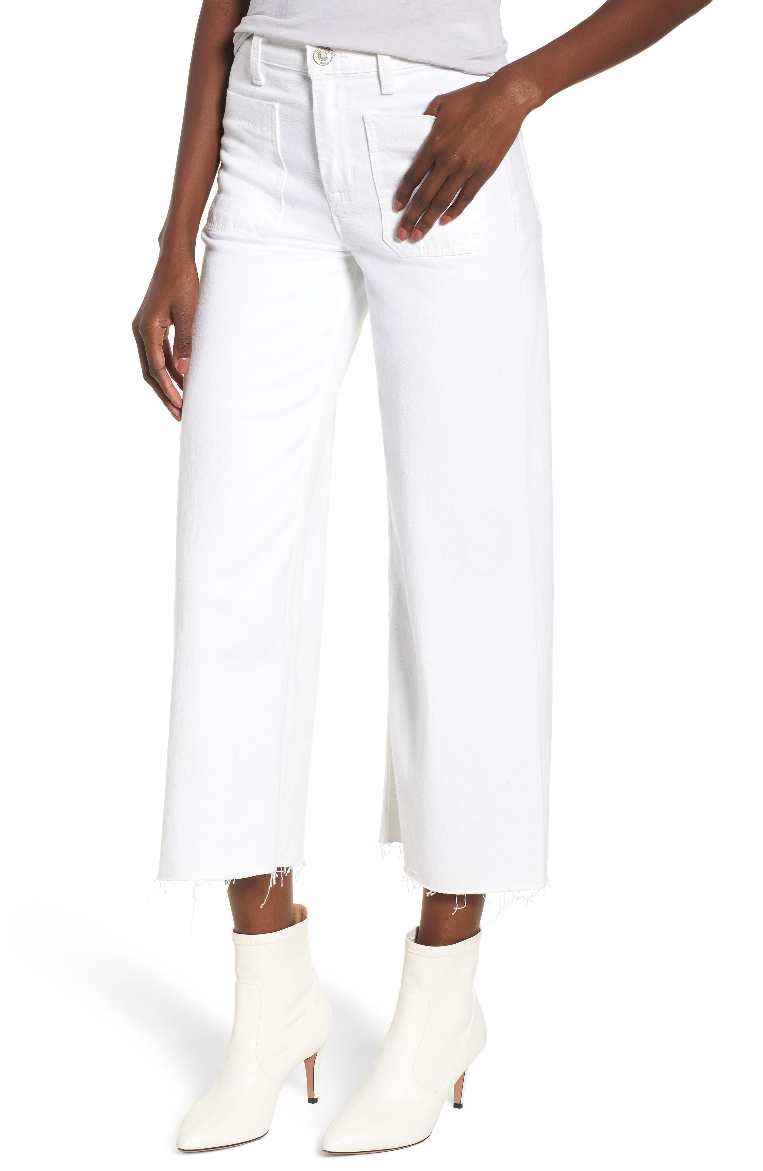 Holly High Waist Raw Hem Crop Wide Leg Jeans,                         Main,                         color, White