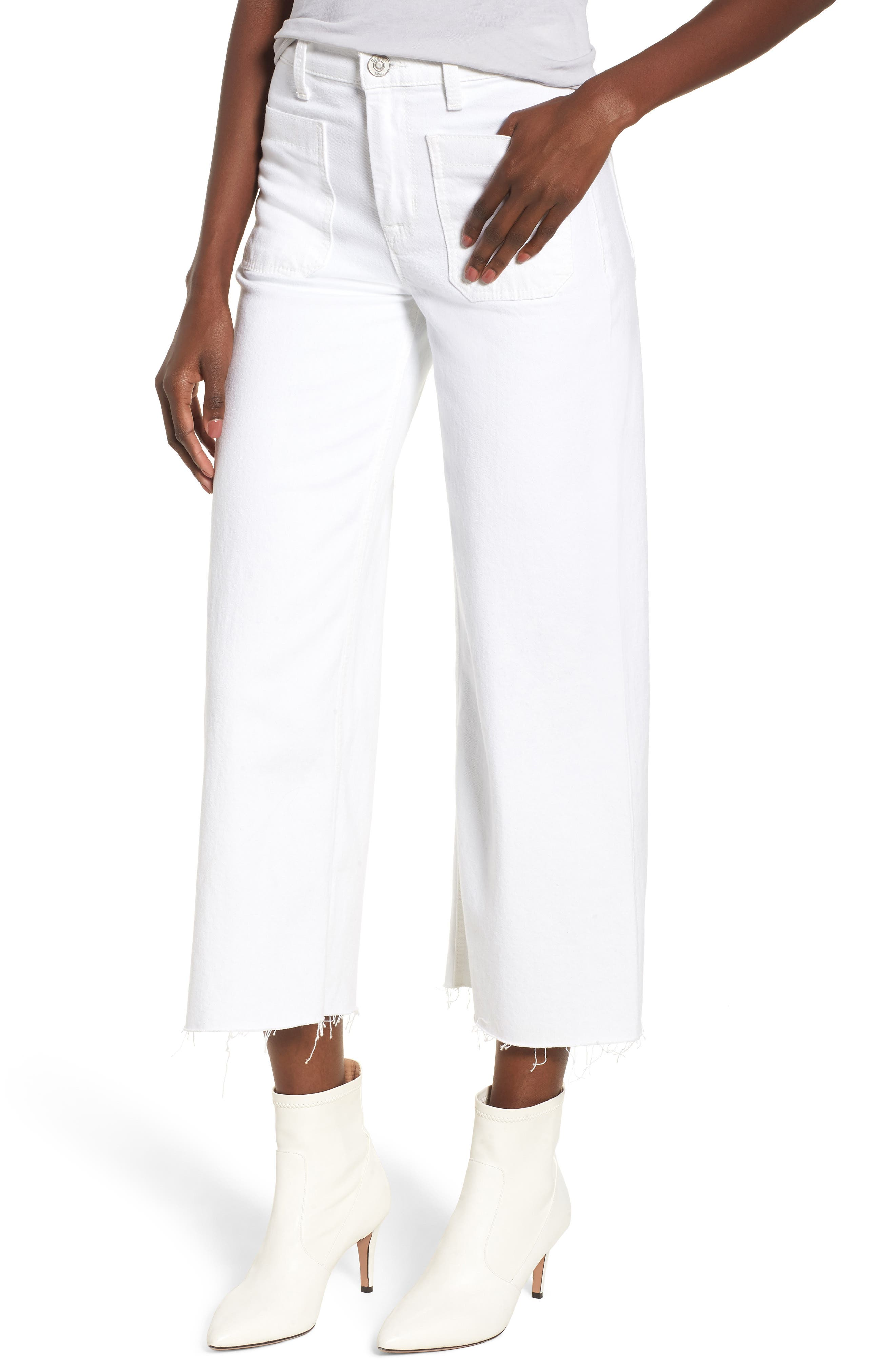 Holly High Waist Raw Hem Crop Wide Leg Jeans,                         Main,                         color, White