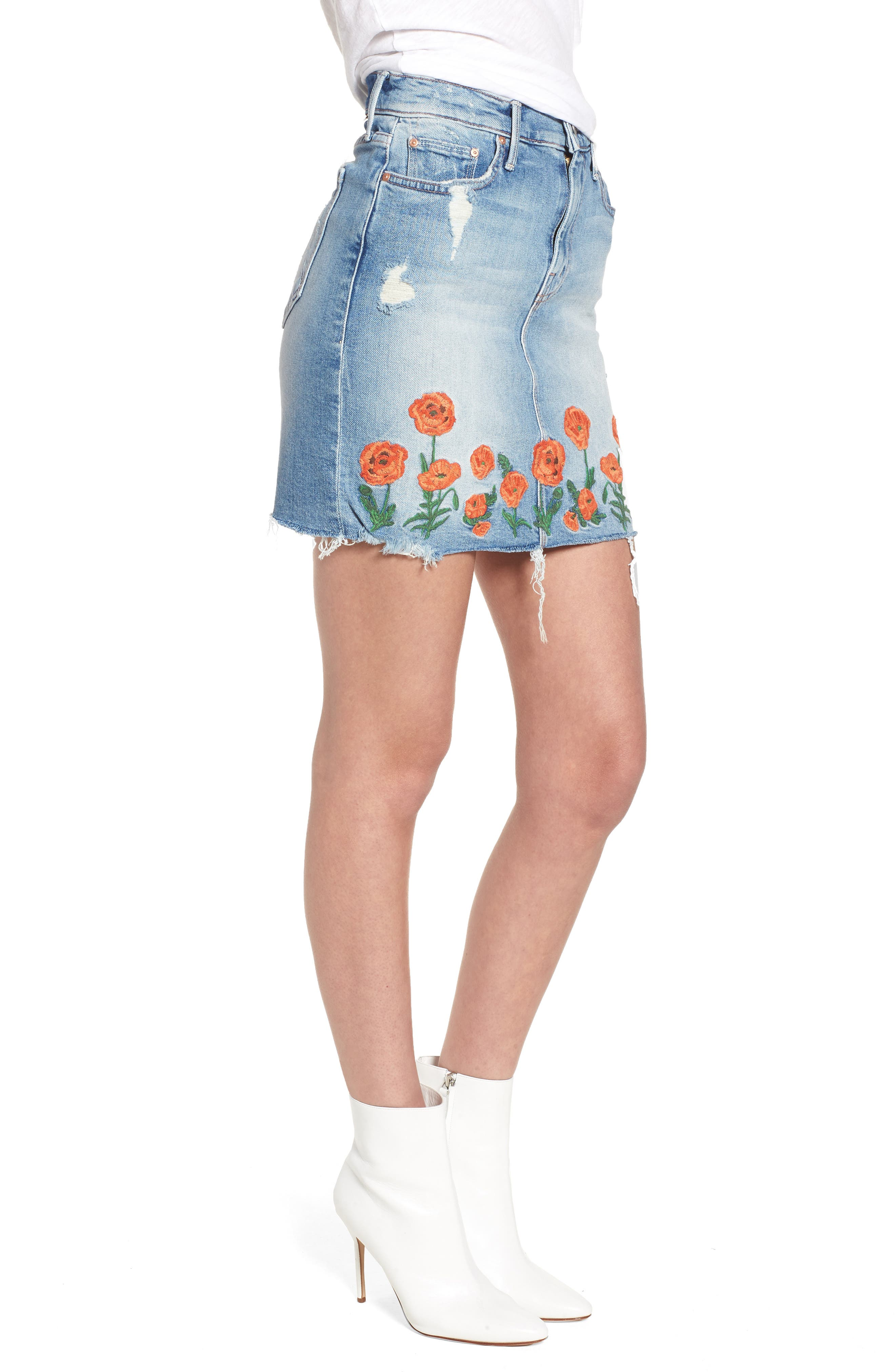 High Waist Fray Straight Denim Miniskirt,                             Alternate thumbnail 3, color,                             Quite Contrary