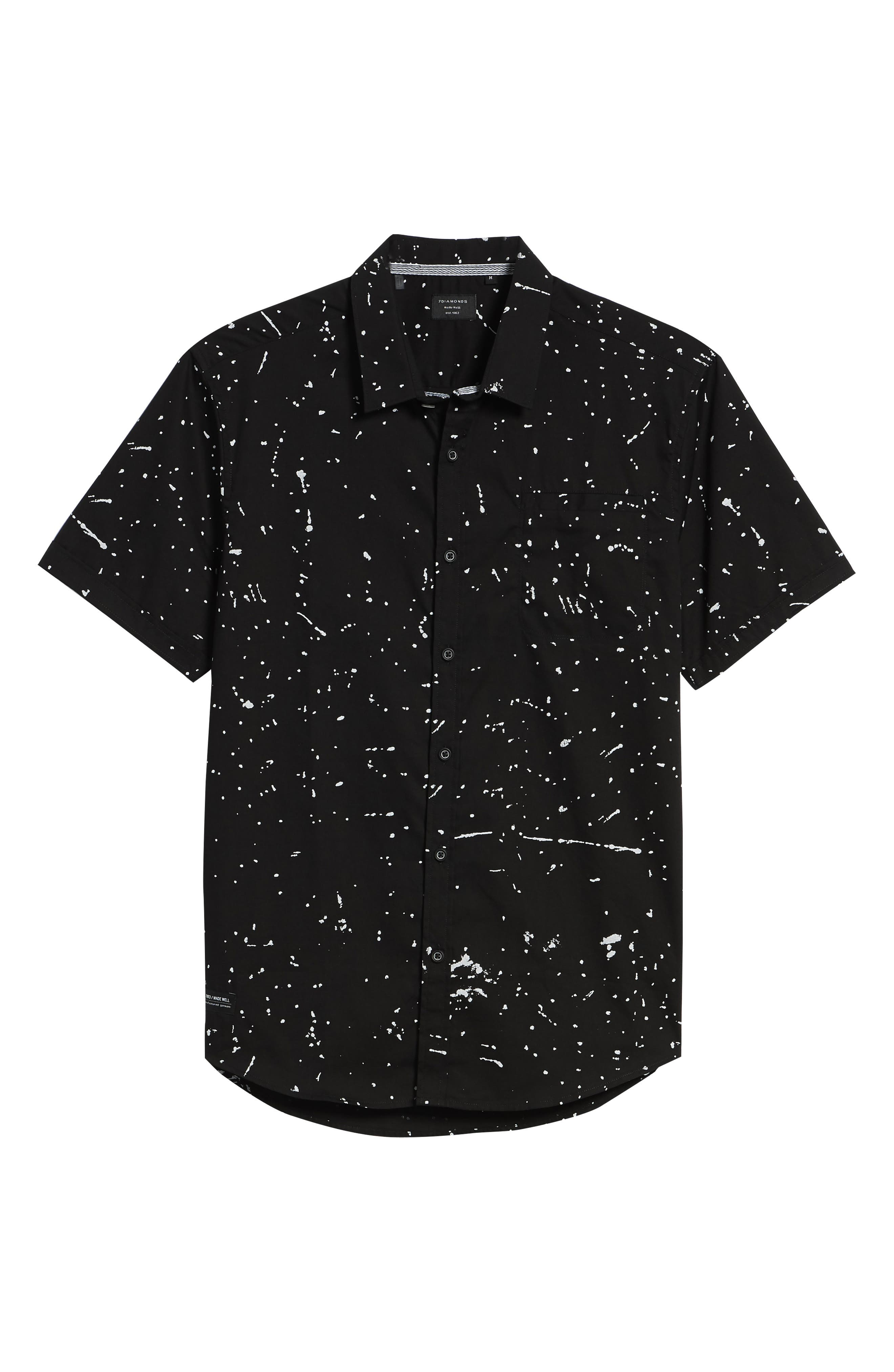 Sky Walker Splatter Sport Shirt,                             Alternate thumbnail 6, color,                             Black