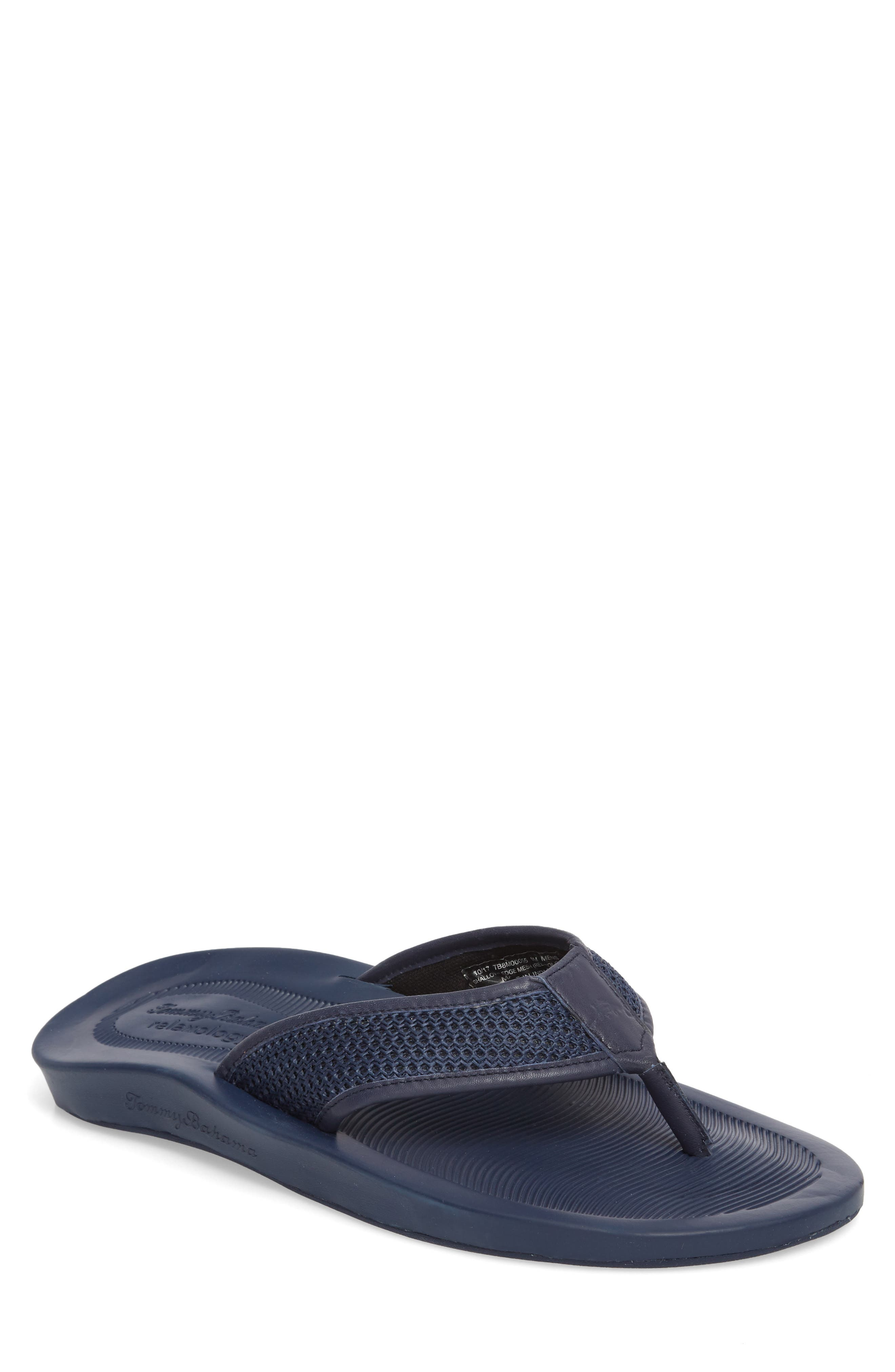 Shallows Edge Mesh Flip Flop,                         Main,                         color, Navy Mesh/ Leather