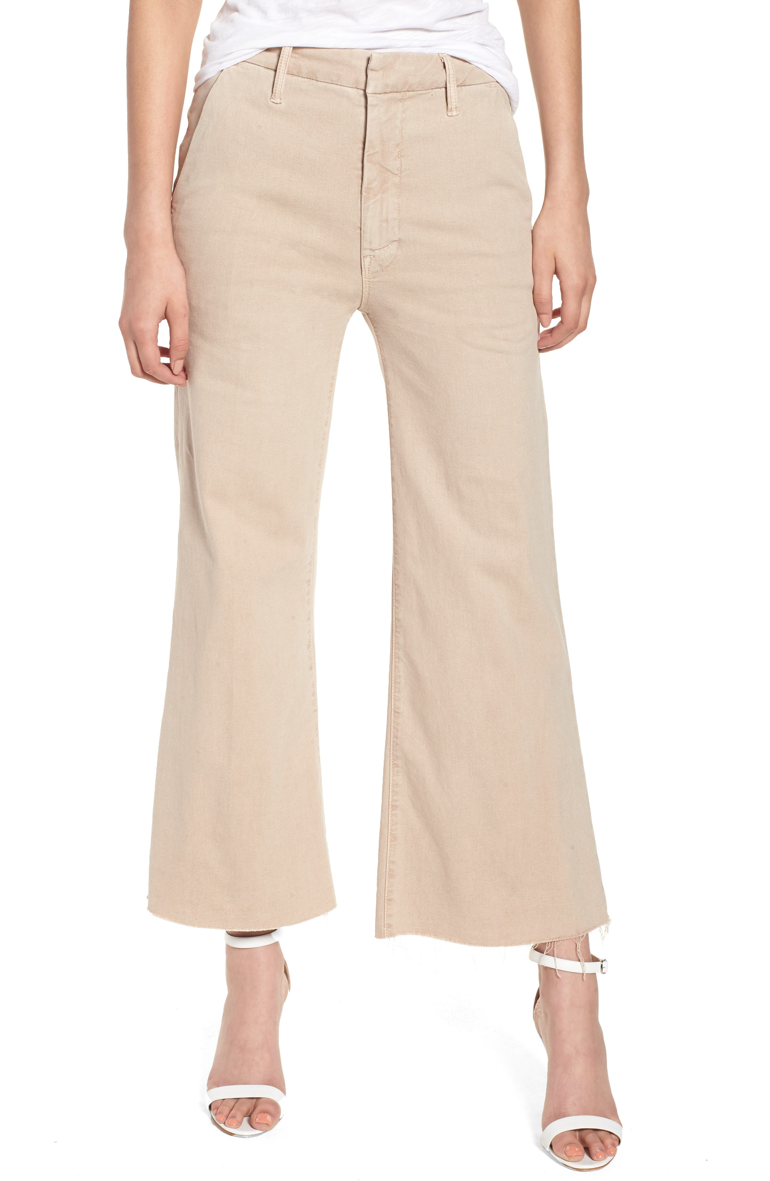 The Roller Fray Crop Wide Leg Jeans,                         Main,                         color, Khaki