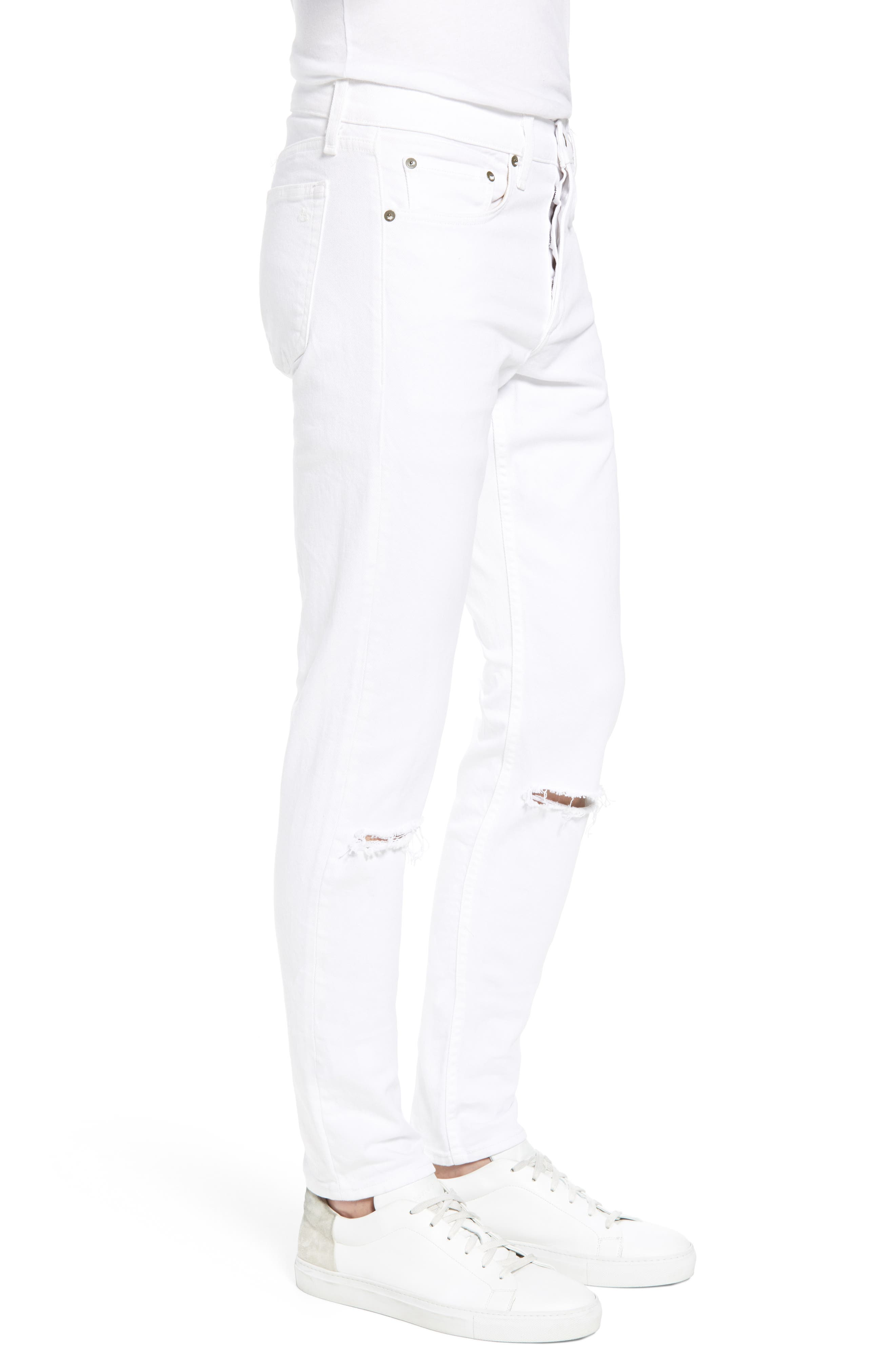 Fit 1 Skinny Fit Jeans,                             Alternate thumbnail 3, color,                             White W/ Holes