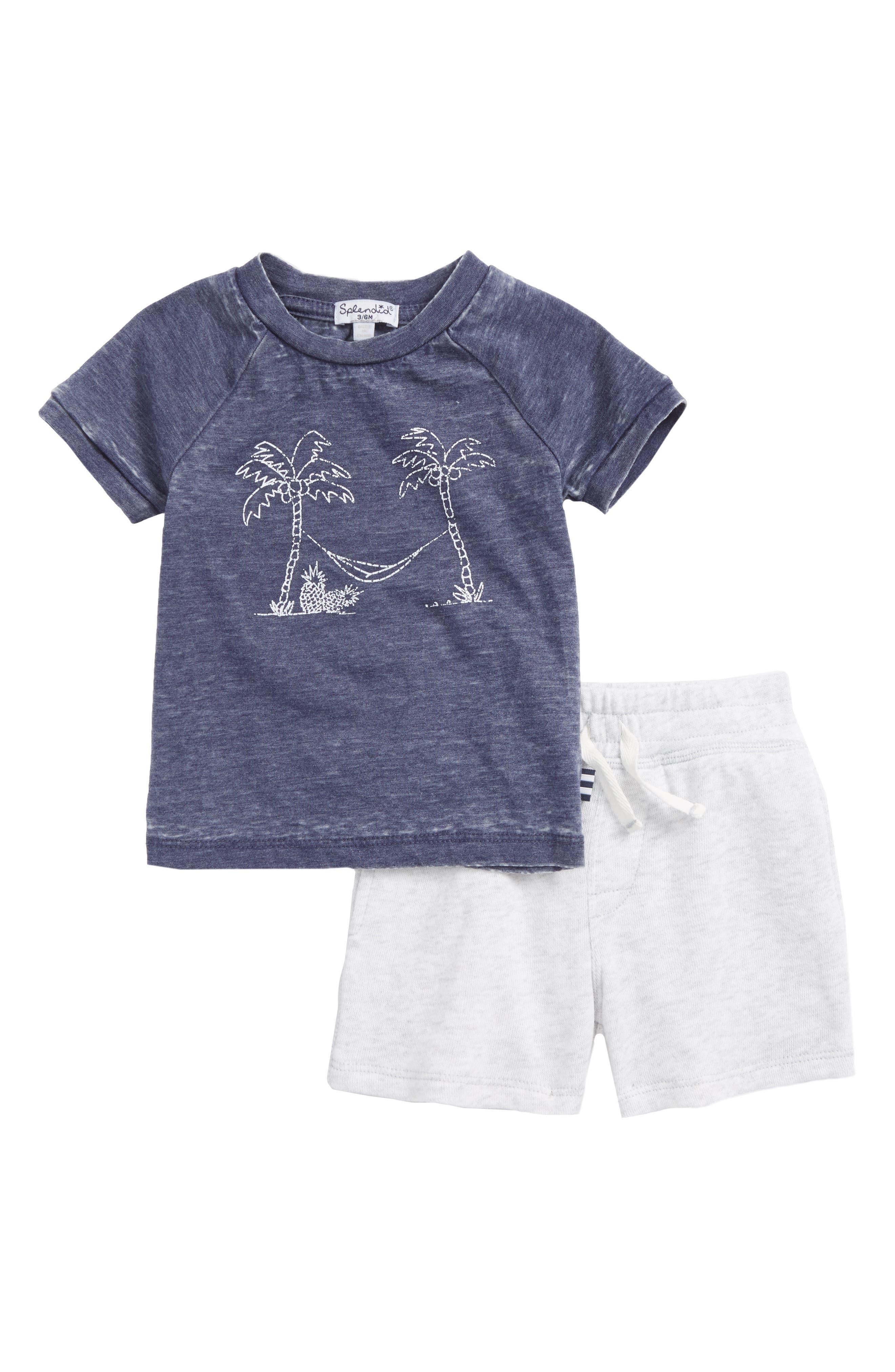 Graphic Burnout T-Shirt & Shorts Set,                             Main thumbnail 1, color,                             Indigo Sky