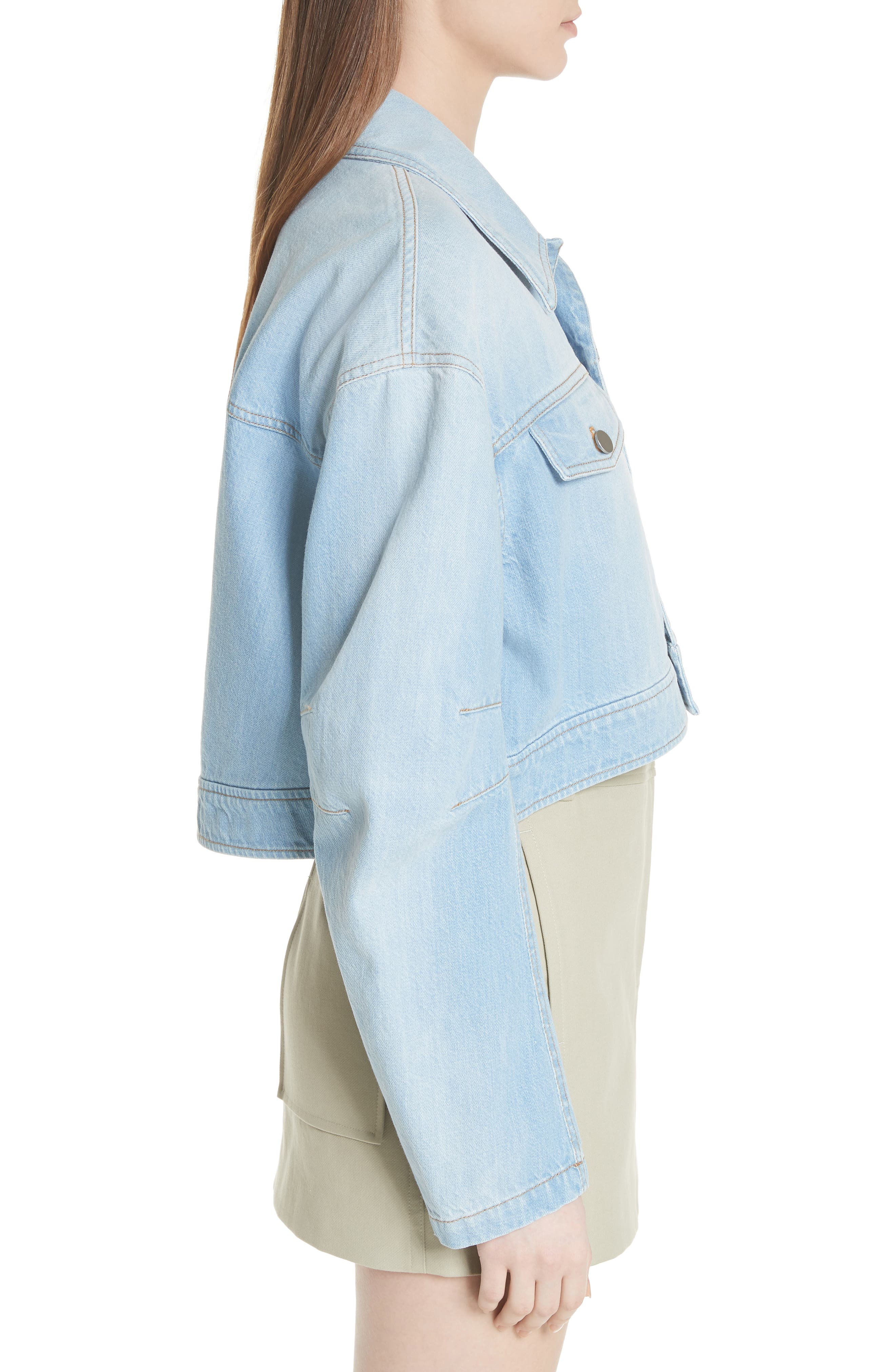 Crop Denim Jacket,                             Alternate thumbnail 3, color,                             Vintage Stone Wash