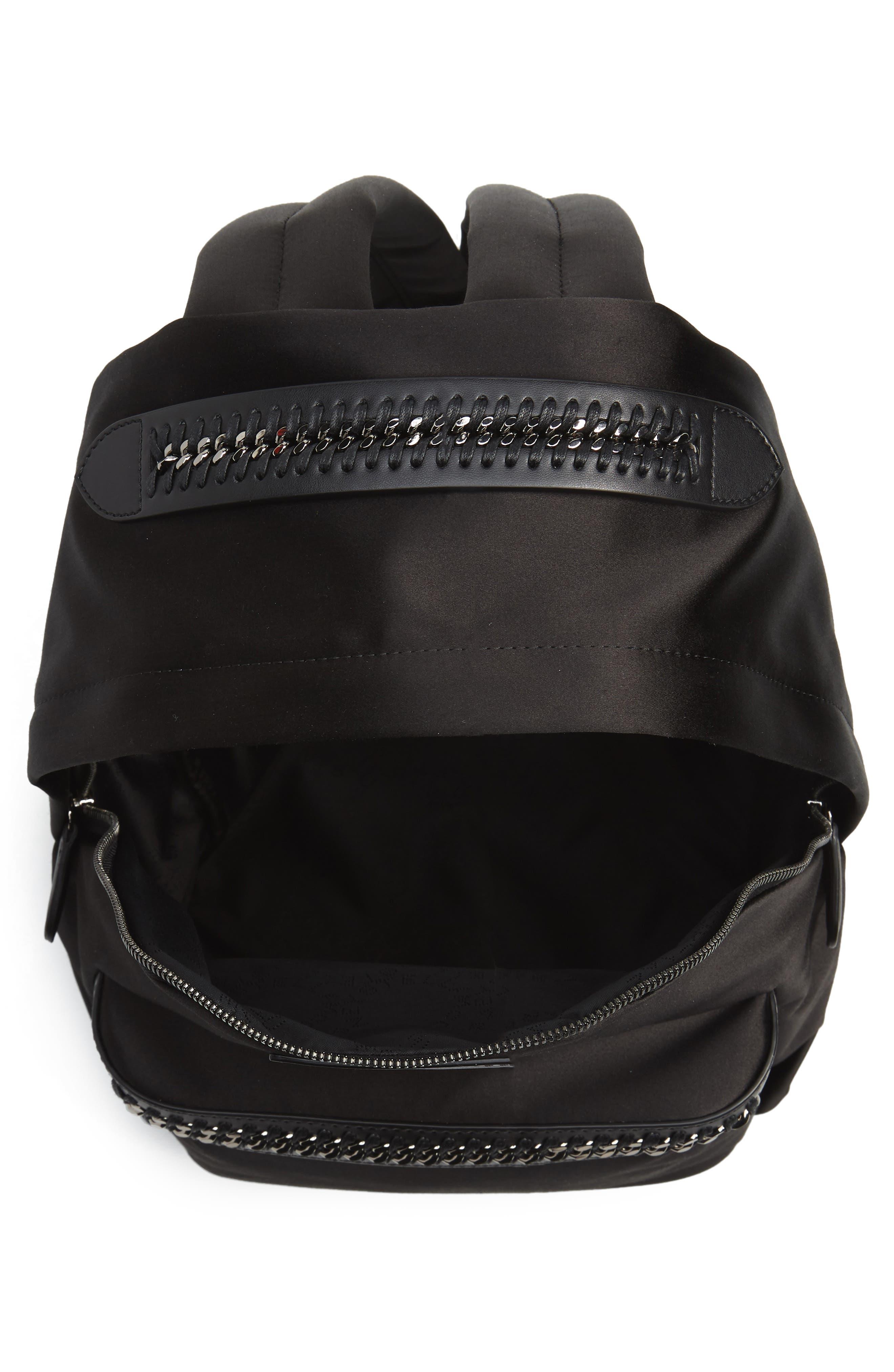 Logo Embossed Satin Backpack,                             Alternate thumbnail 4, color,                             Black