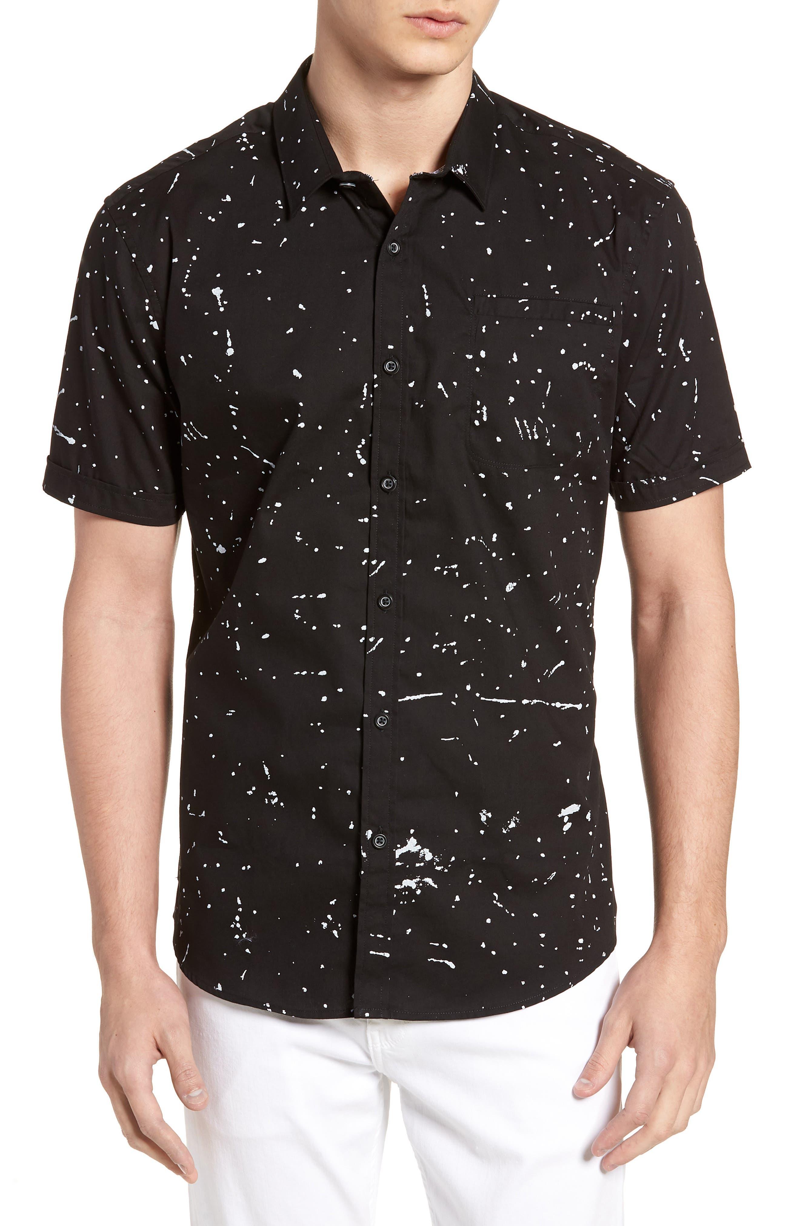 Sky Walker Splatter Sport Shirt,                             Main thumbnail 1, color,                             Black