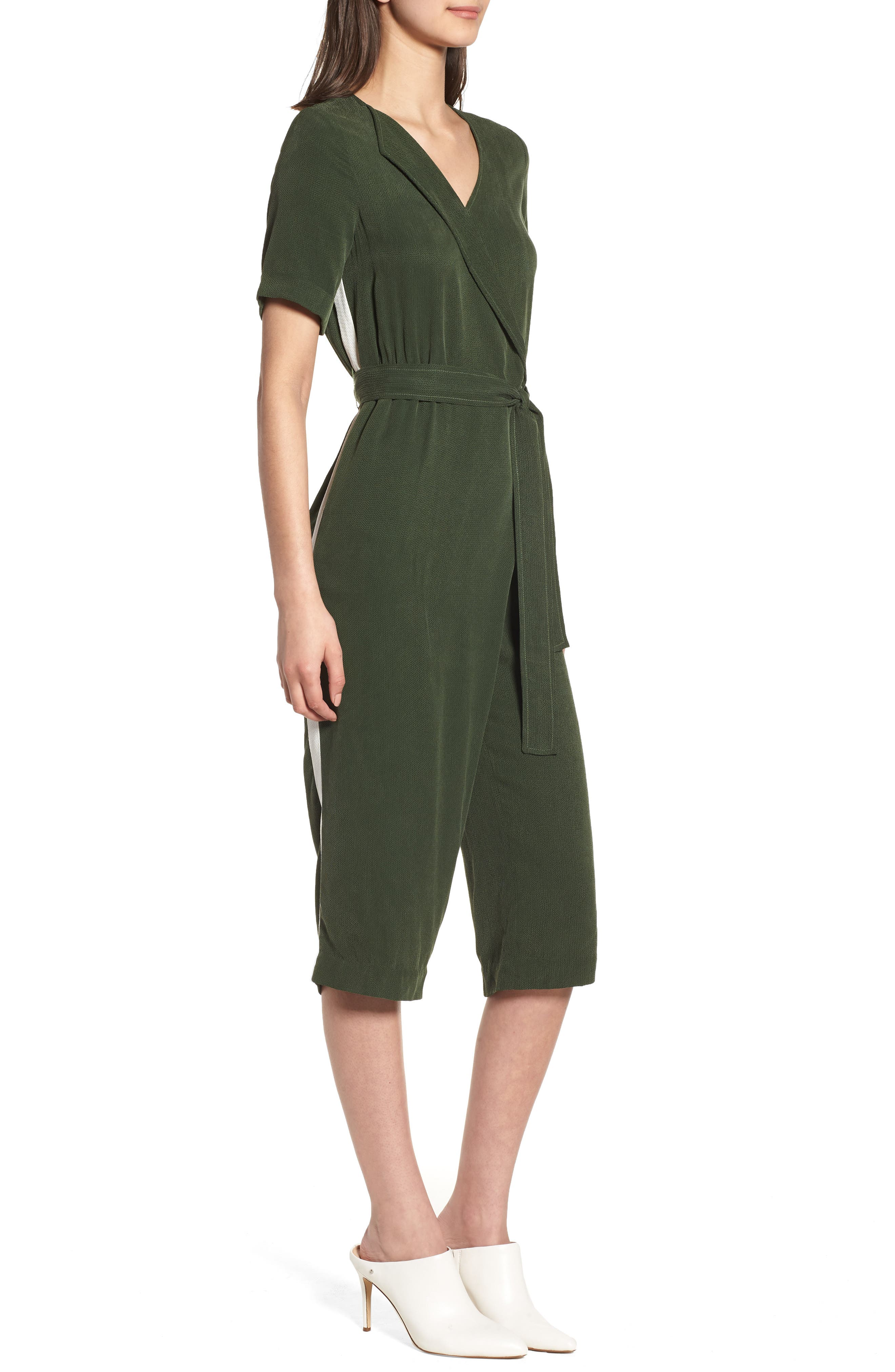 Downstairs Crop Jumpsuit,                             Alternate thumbnail 3, color,                             Green