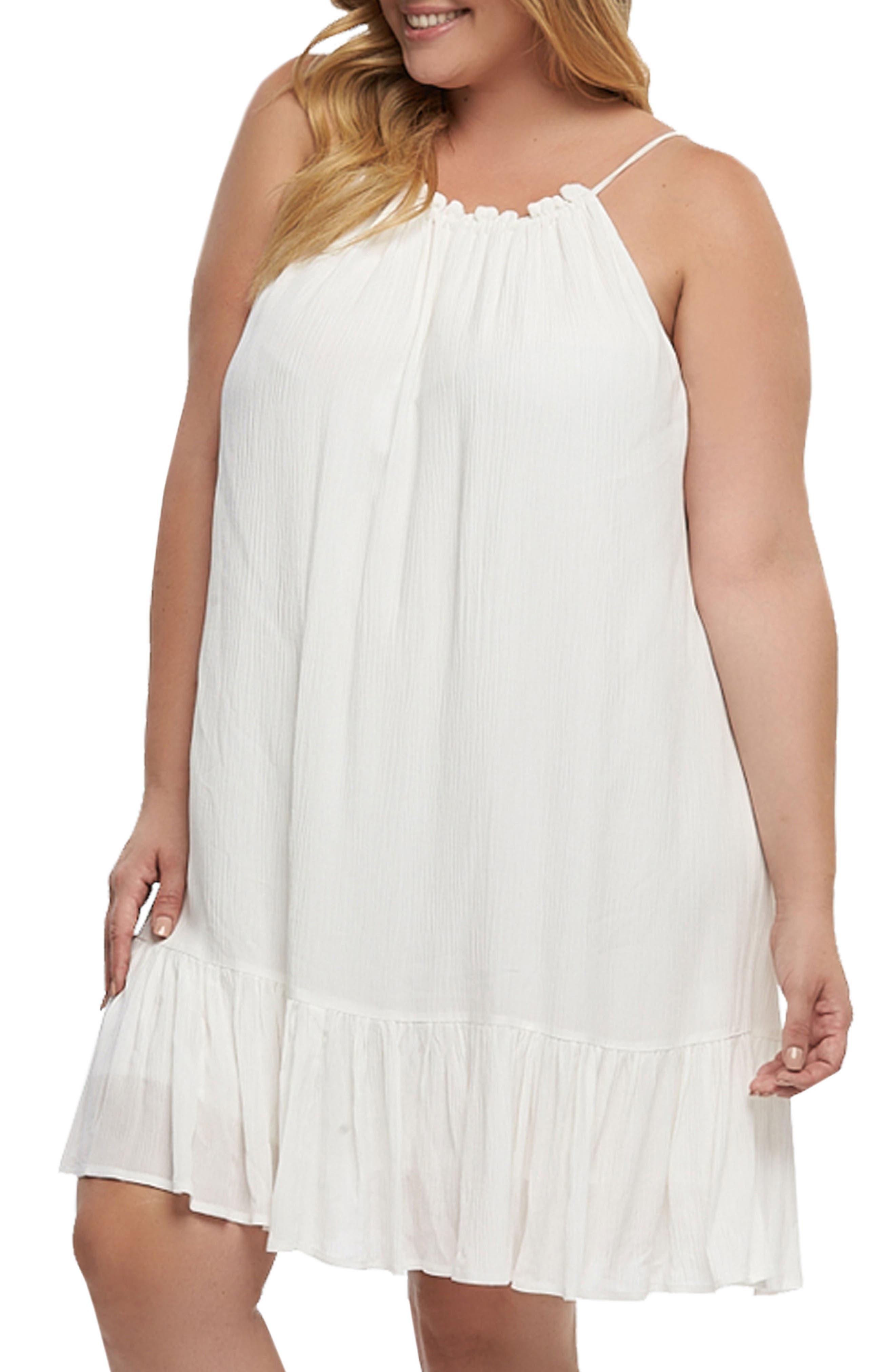 Liz Halter Top Baby Doll Dress,                             Alternate thumbnail 3, color,                             White